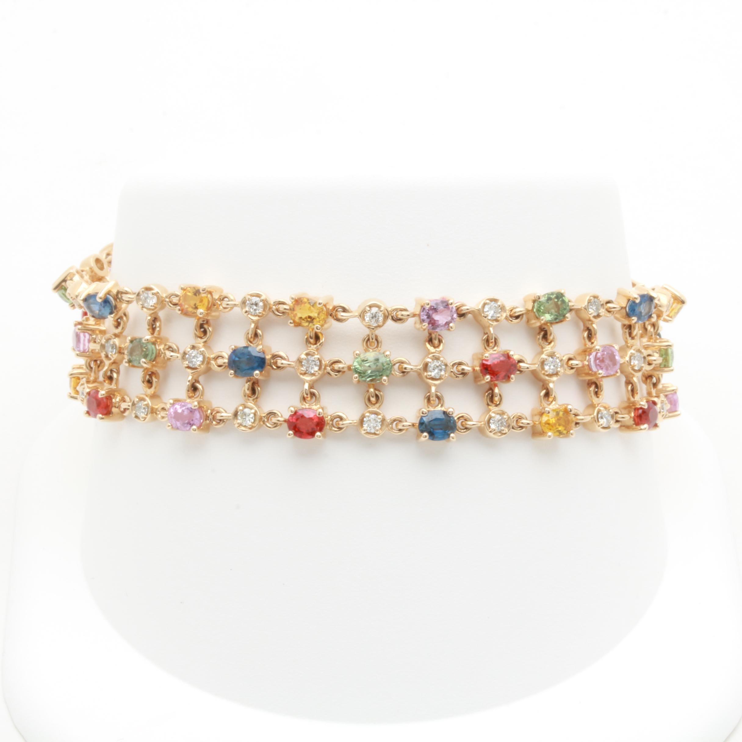 14K Yellow Gold Multi Color Sapphire and 1.07 CTW Diamond Bracelet
