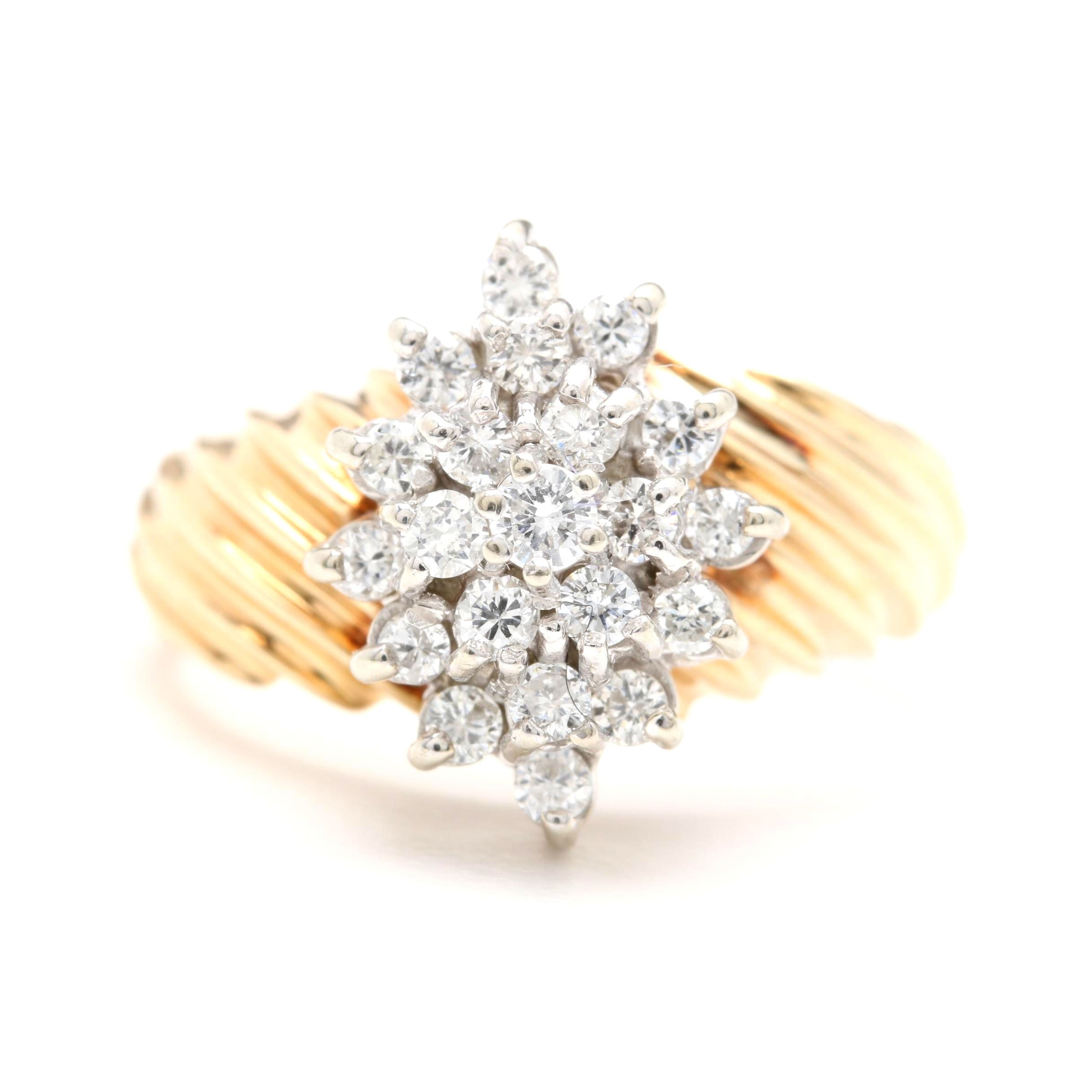 14K Yellow Gold Diamond Cluster Ring with 14K White Gold Accents