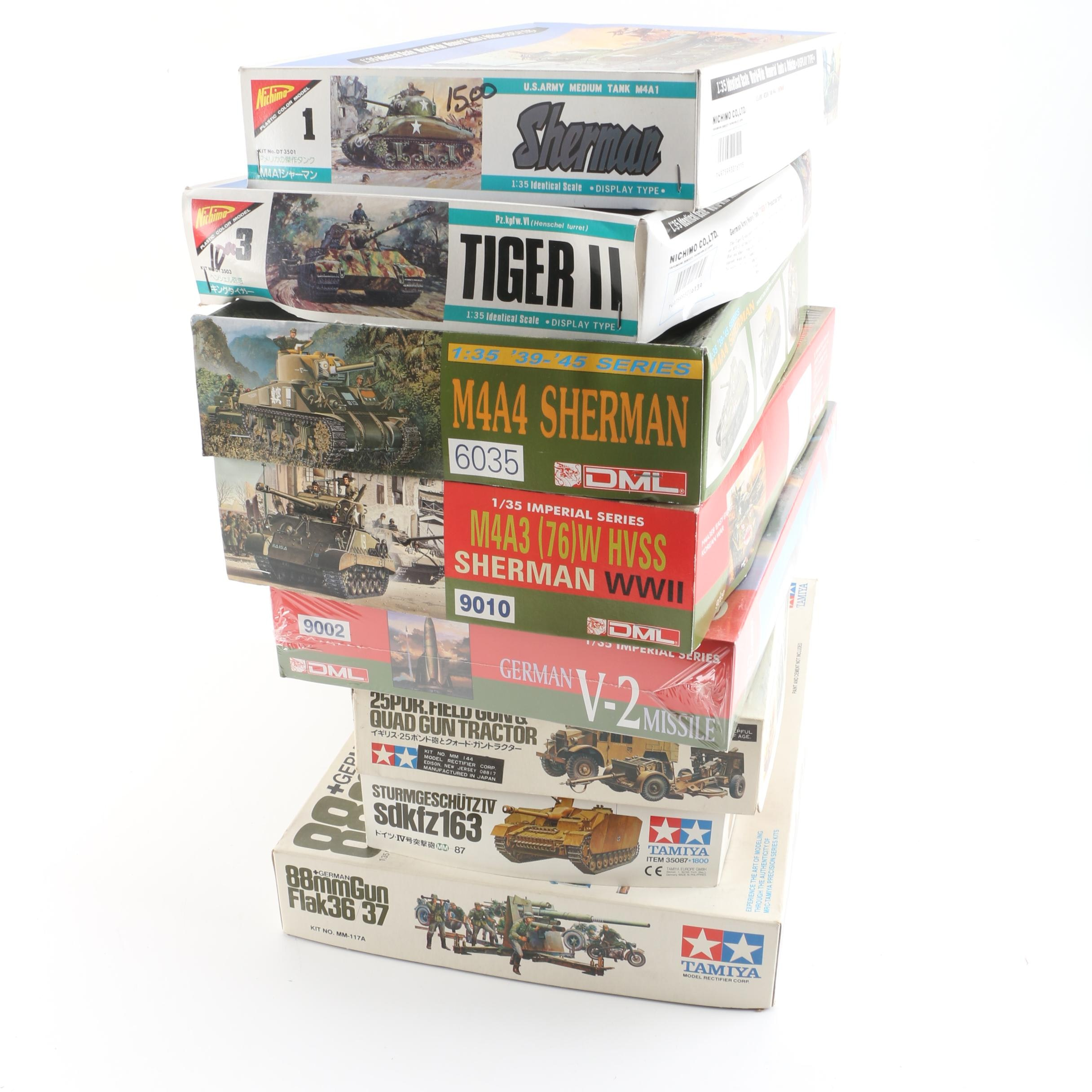 Military Vehicle and Artillery Model Kits Including Nichimo