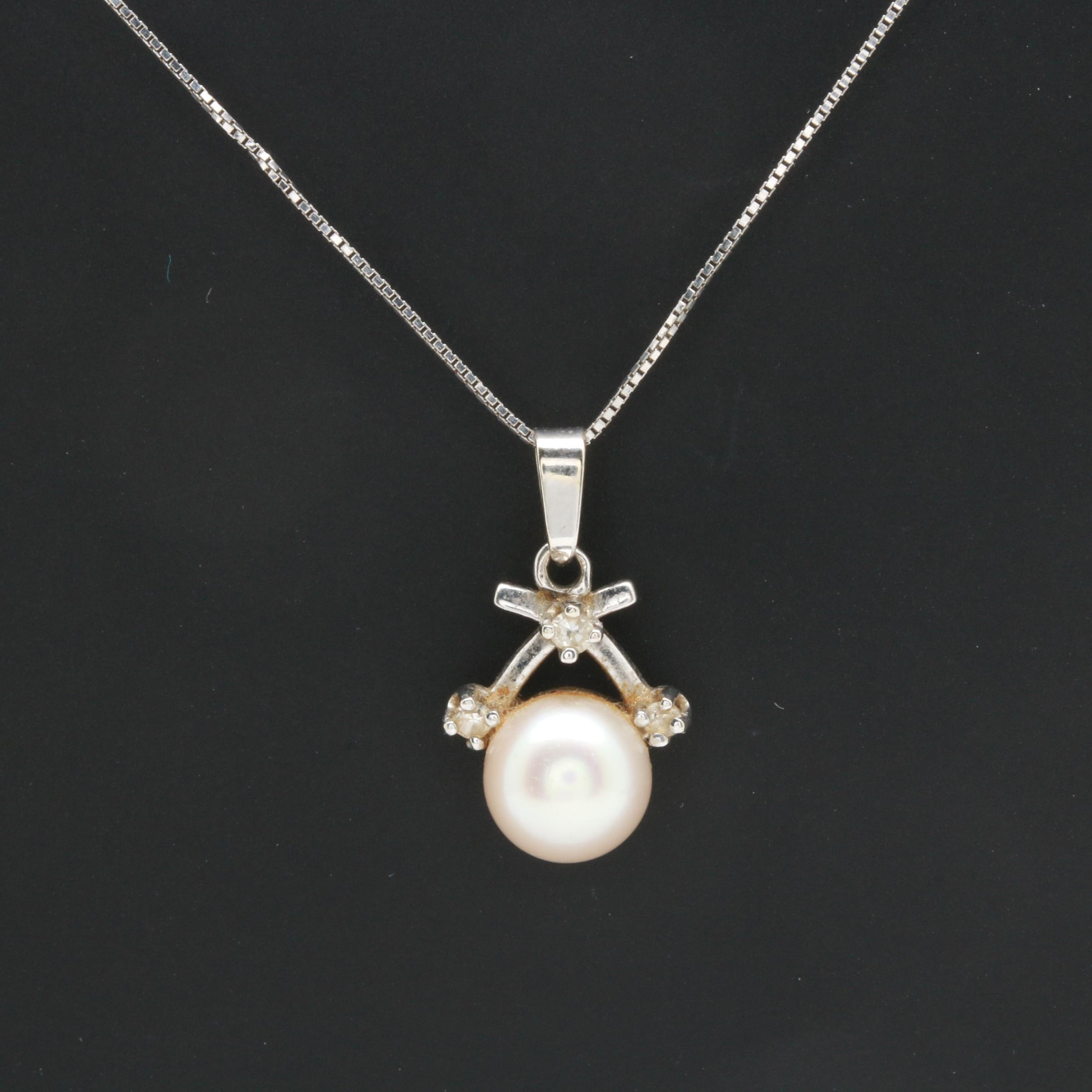 Alwand Vahan 14K White Gold Cultured Pearl and Diamond Pendant Necklace