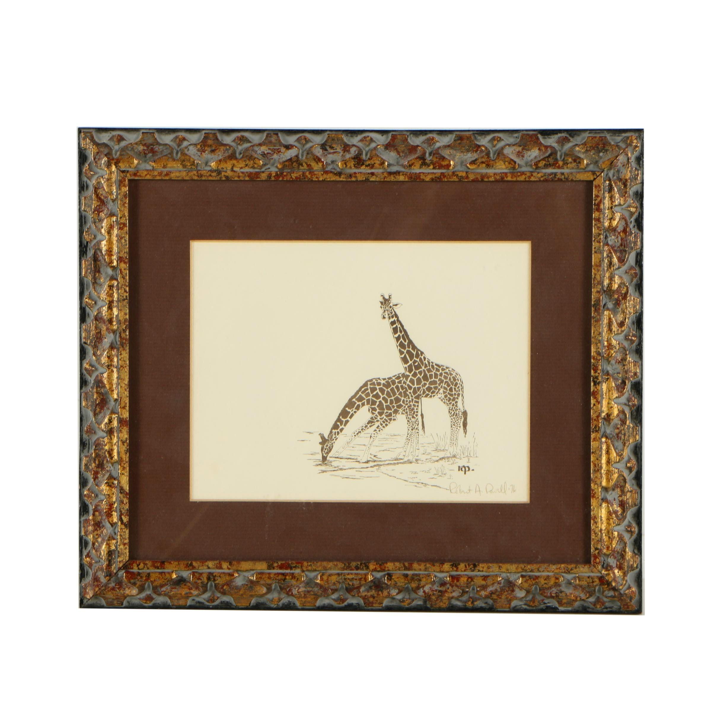 Robert A. Powell Lithograph of Giraffes