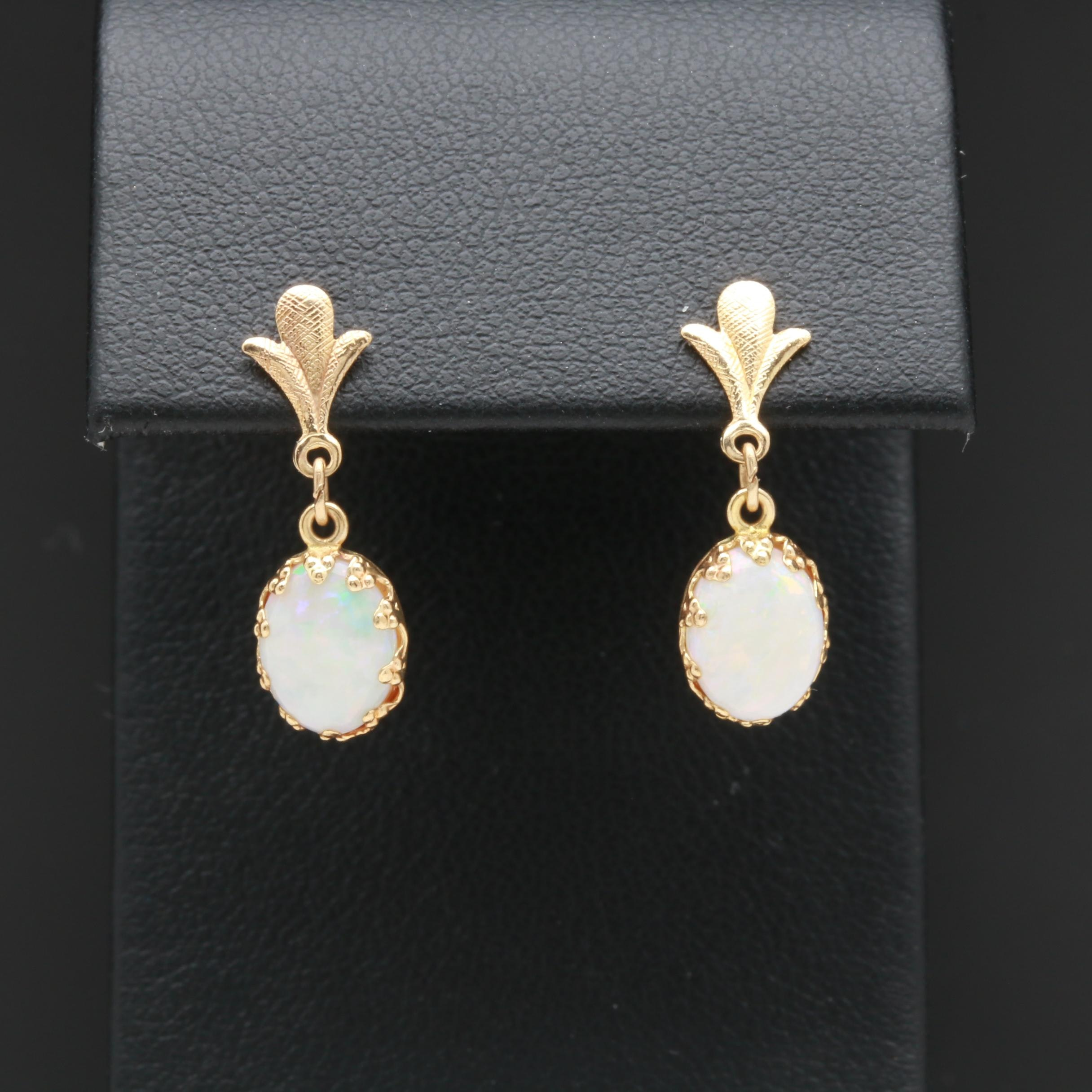 14K Yellow Gold Opal Earrings