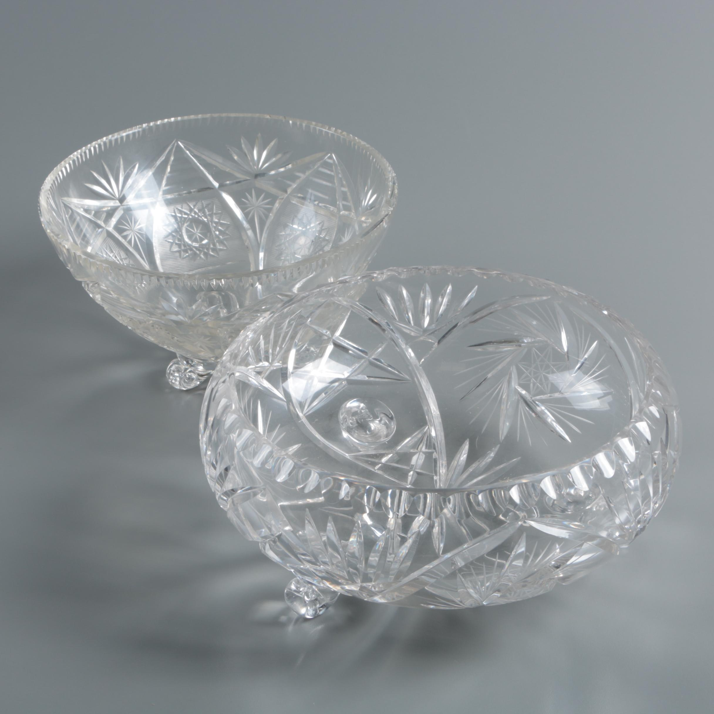 Vintage Hand-Cut Crystal Bowls with Applied Blown Feet
