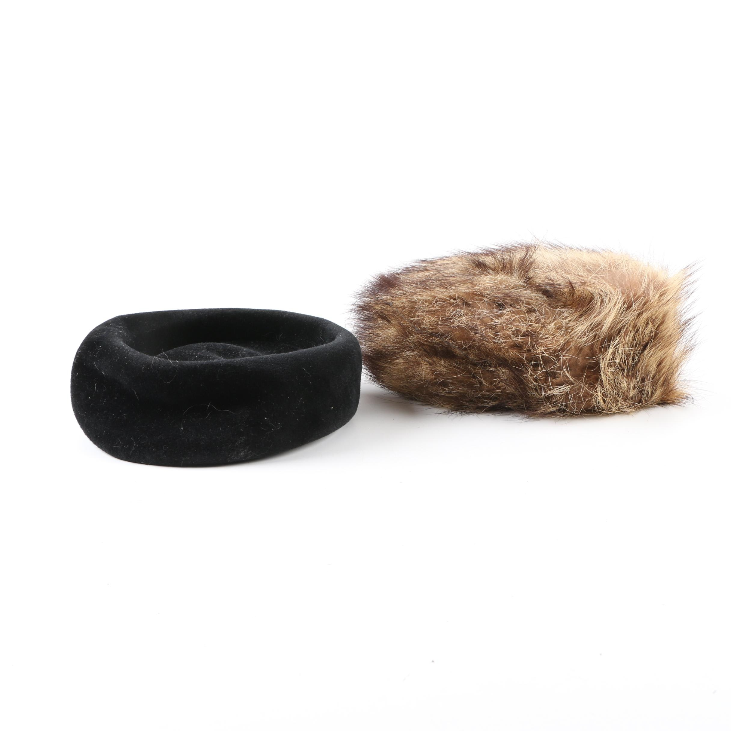 Vintage Felted Wool and Raccoon Fur Hats
