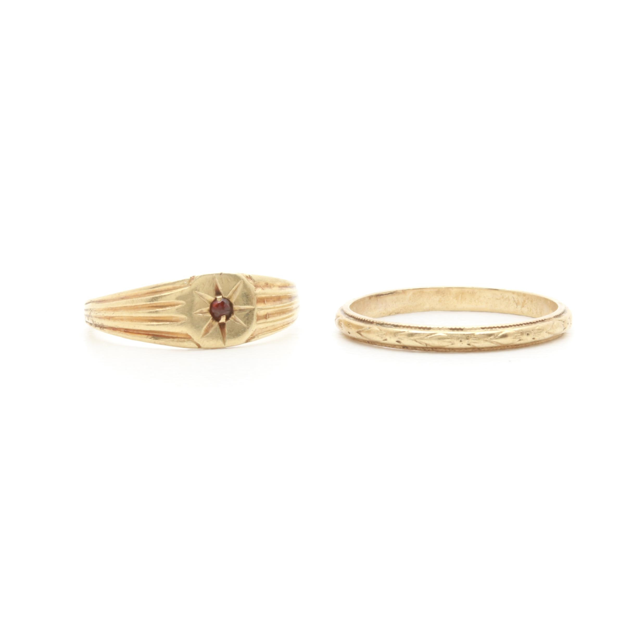 10K and 14K Yellow Gold Rings Including Garnet