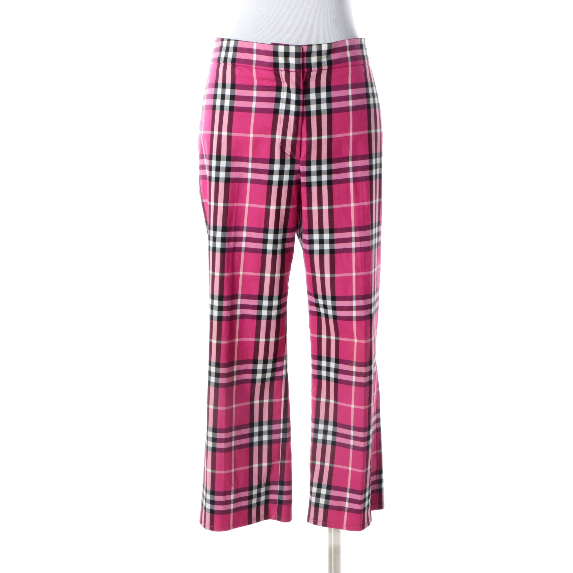 Burberry London Fuchsia Pink Plaid Capri Pants