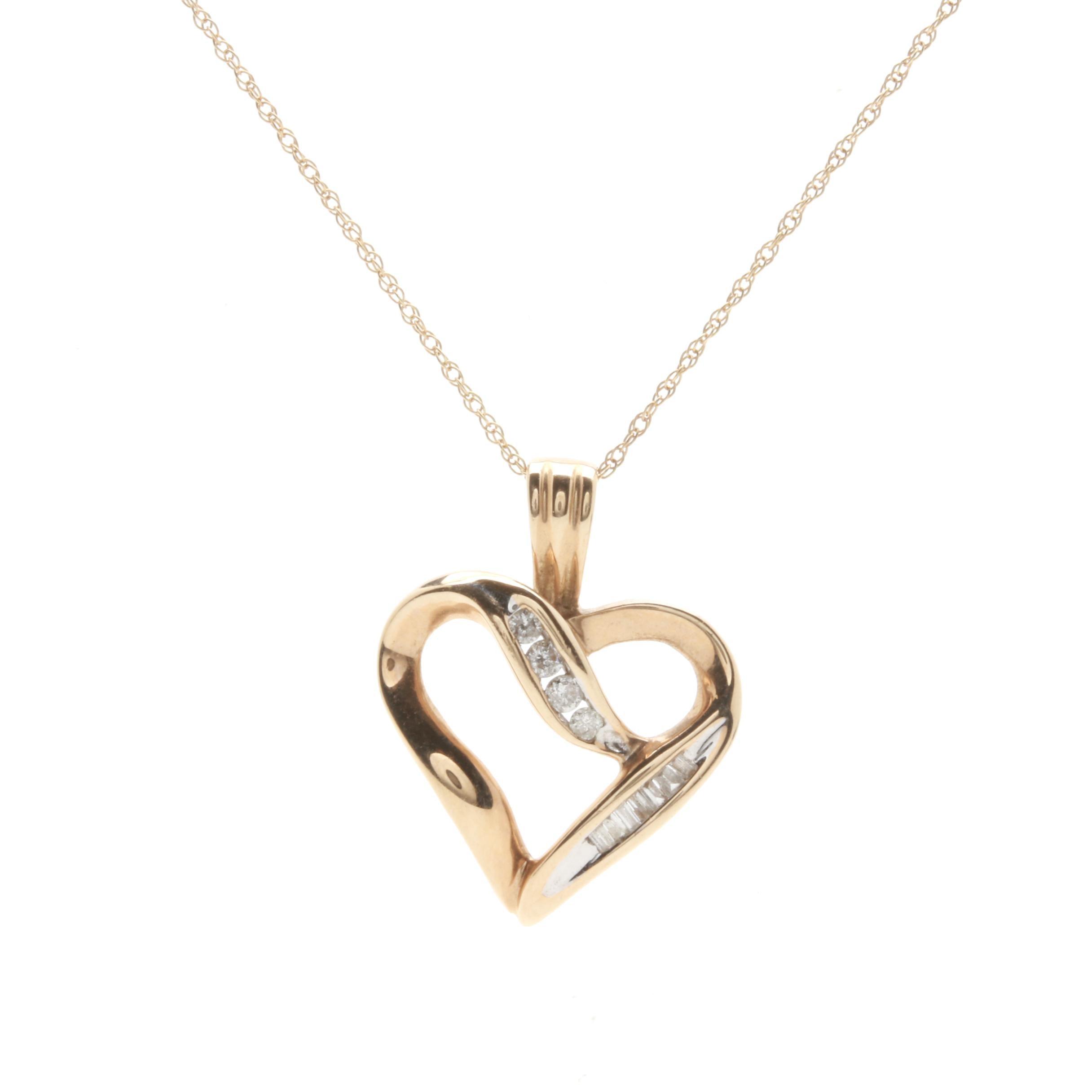 10K Yellow Gold Diamond Open Heart Pendant Necklace