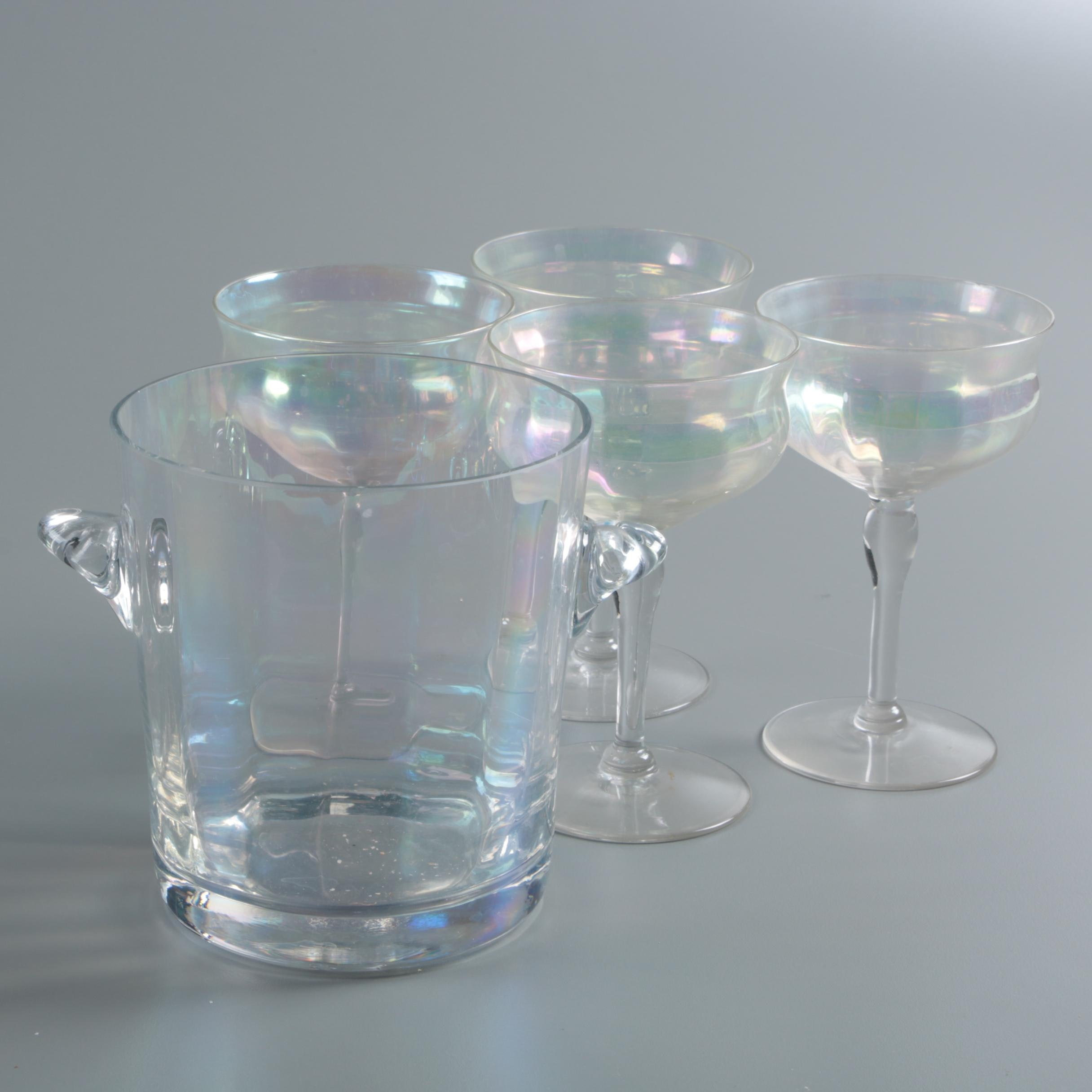 "Vintage Fostoria ""Mother of Pearl"" Iridescent Champagne Coupes with Ice Bucket"