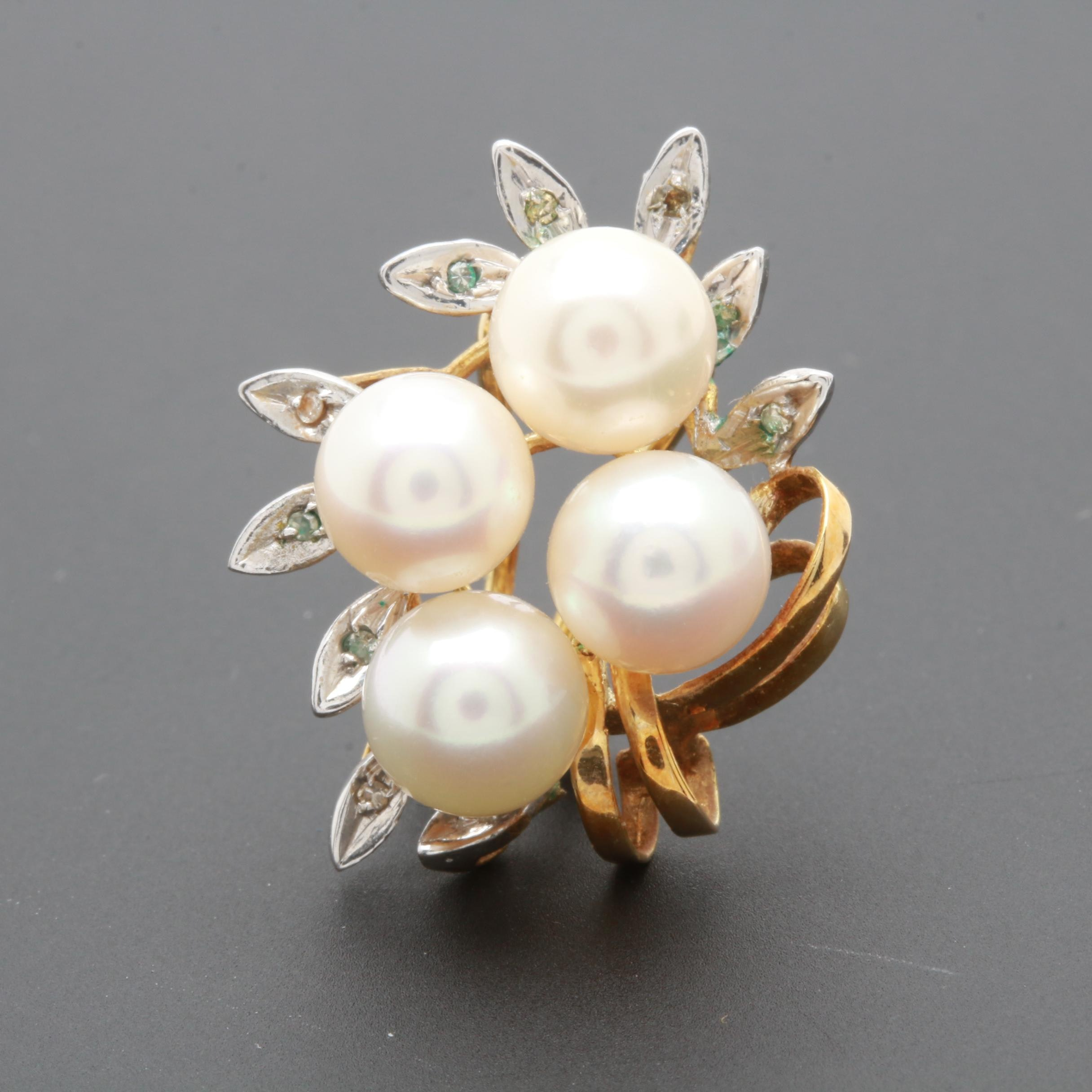 14K Yellow Gold Cultured Pearl and Diamond Earring with 14K White Gold Accent