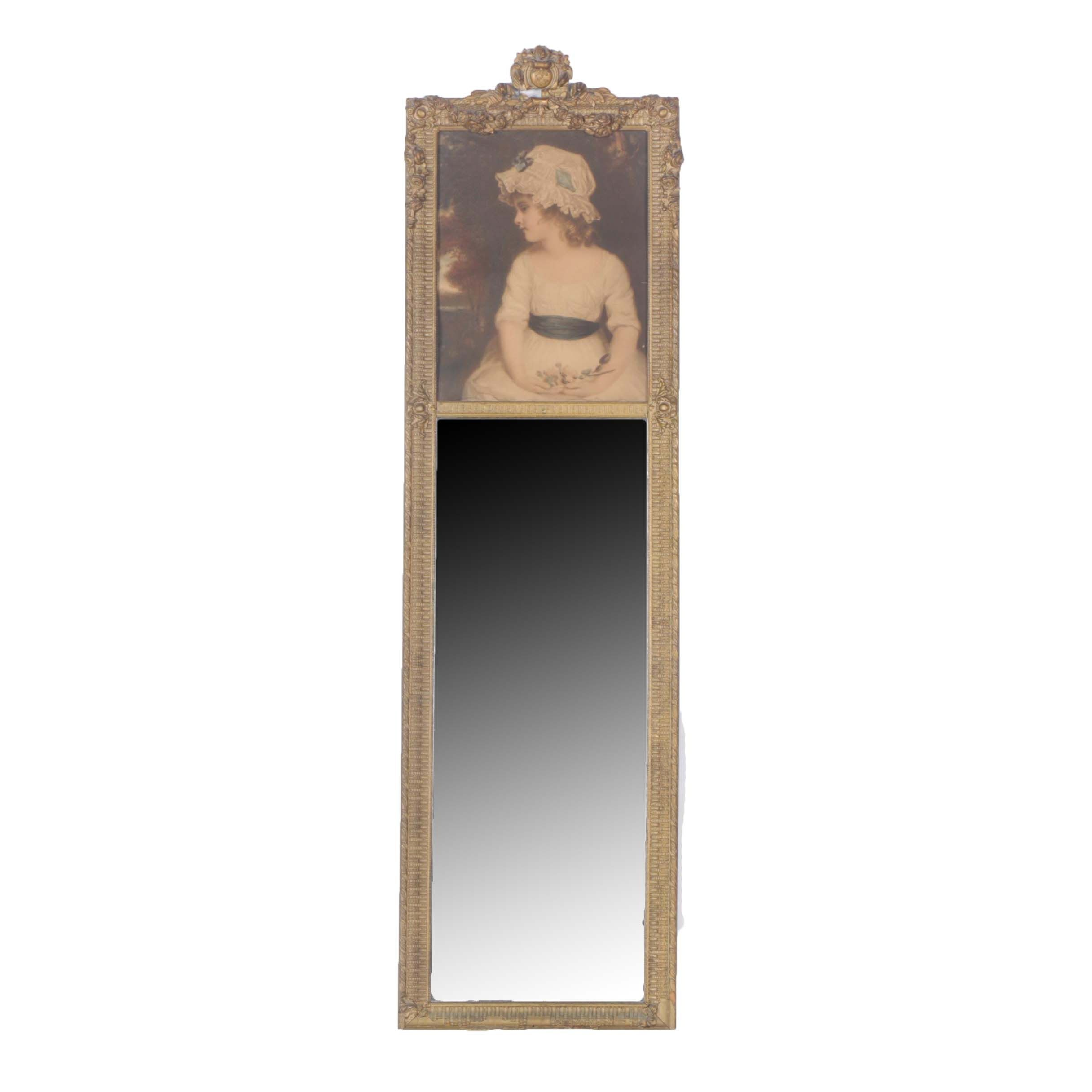 Vintage Giltwood Trumeau Mirror with 19th Century Style Portrait Under Glass