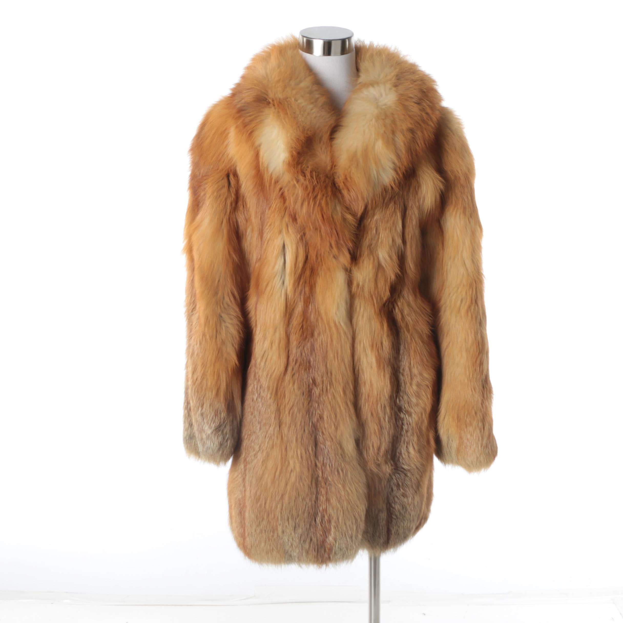 Vintage Red Fox Fur Coat and Collar