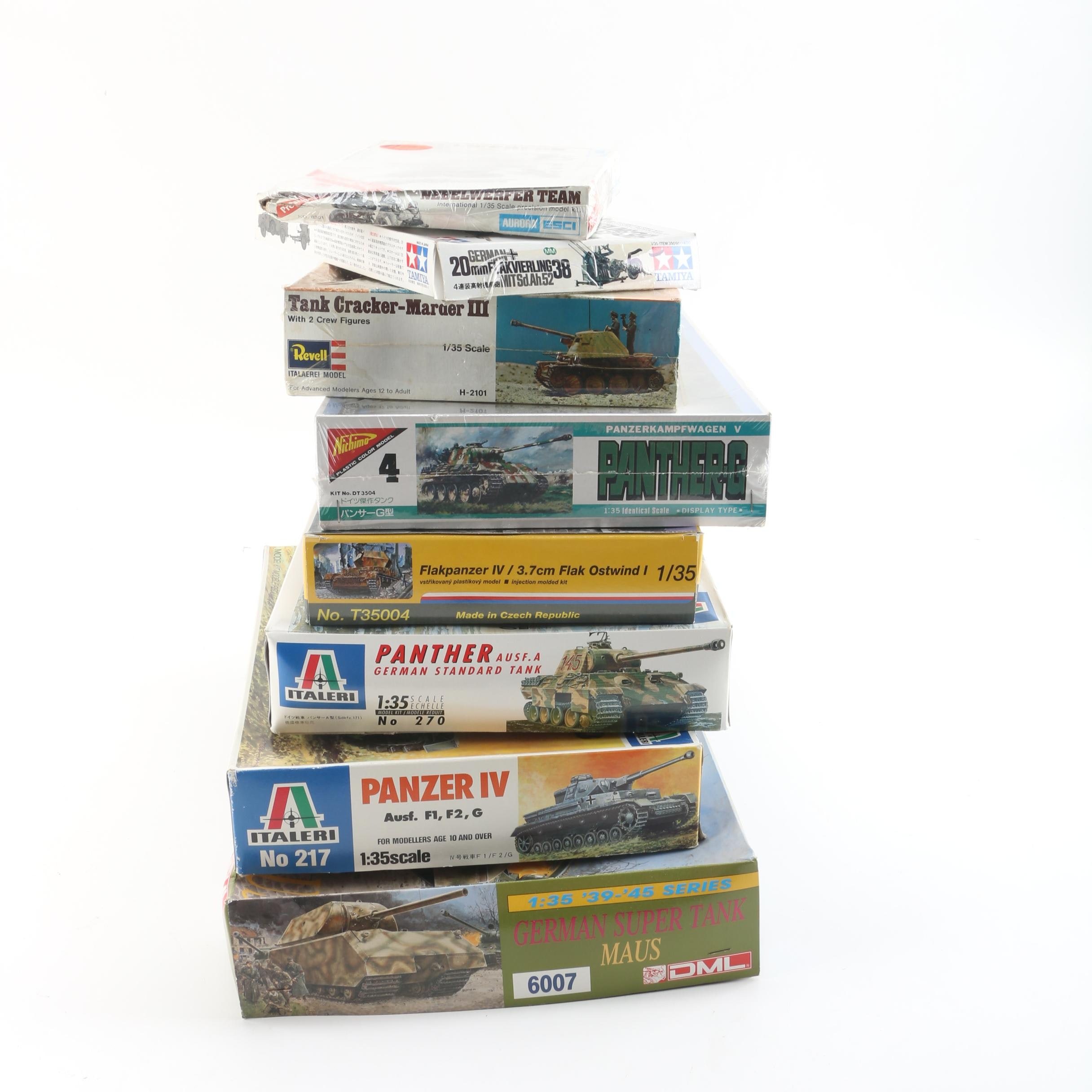 German Military Vehicle and Accessory Model Kits Including Italeri and Revell