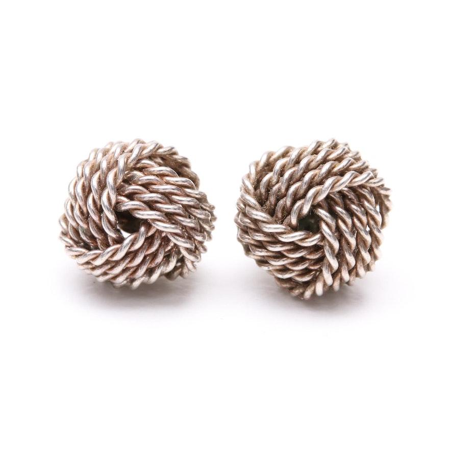 Tiffany Co Sterling Silver Twist Knot Earrings