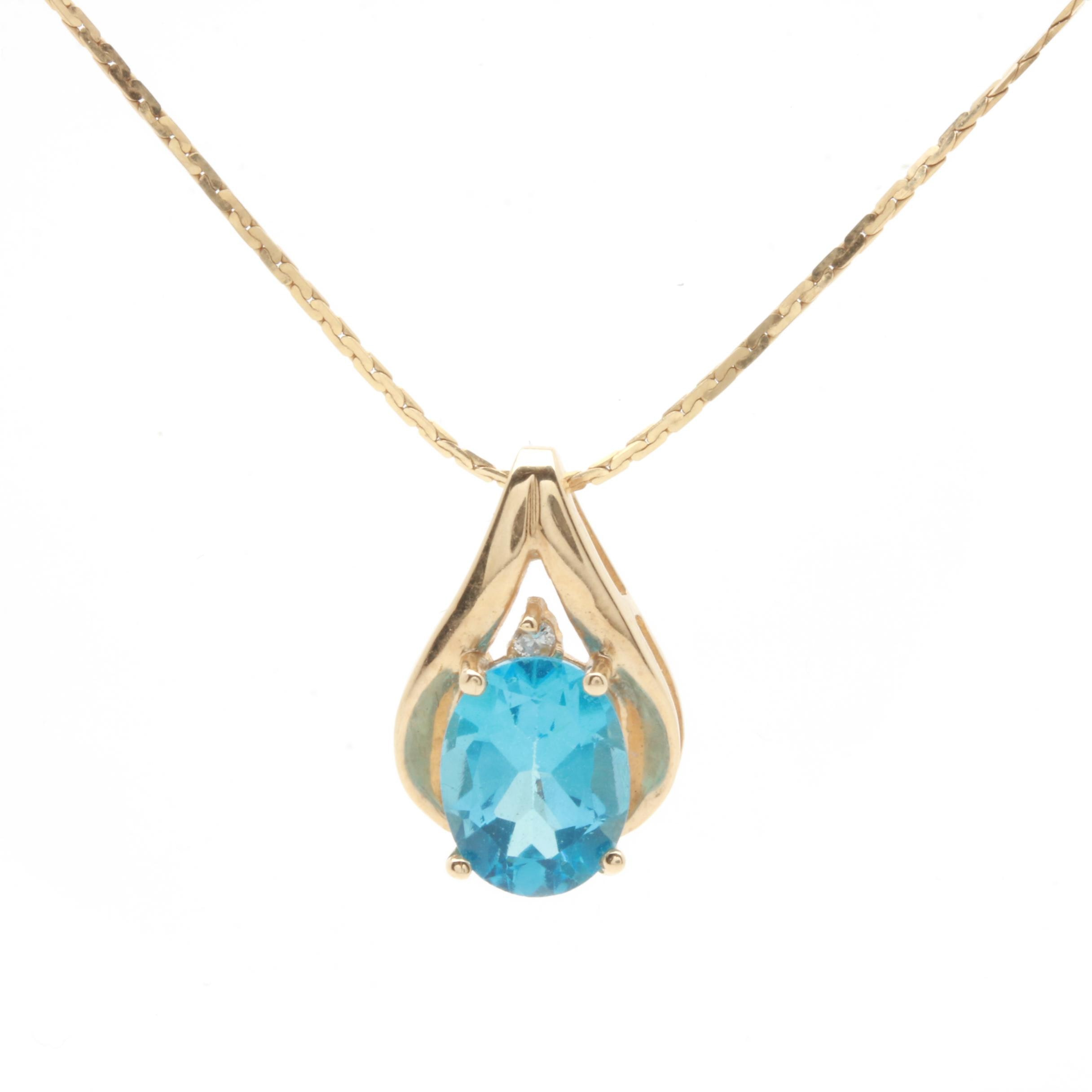 10K and 14K Yellow Gold Blue Topaz and Diamond Pendant Necklace