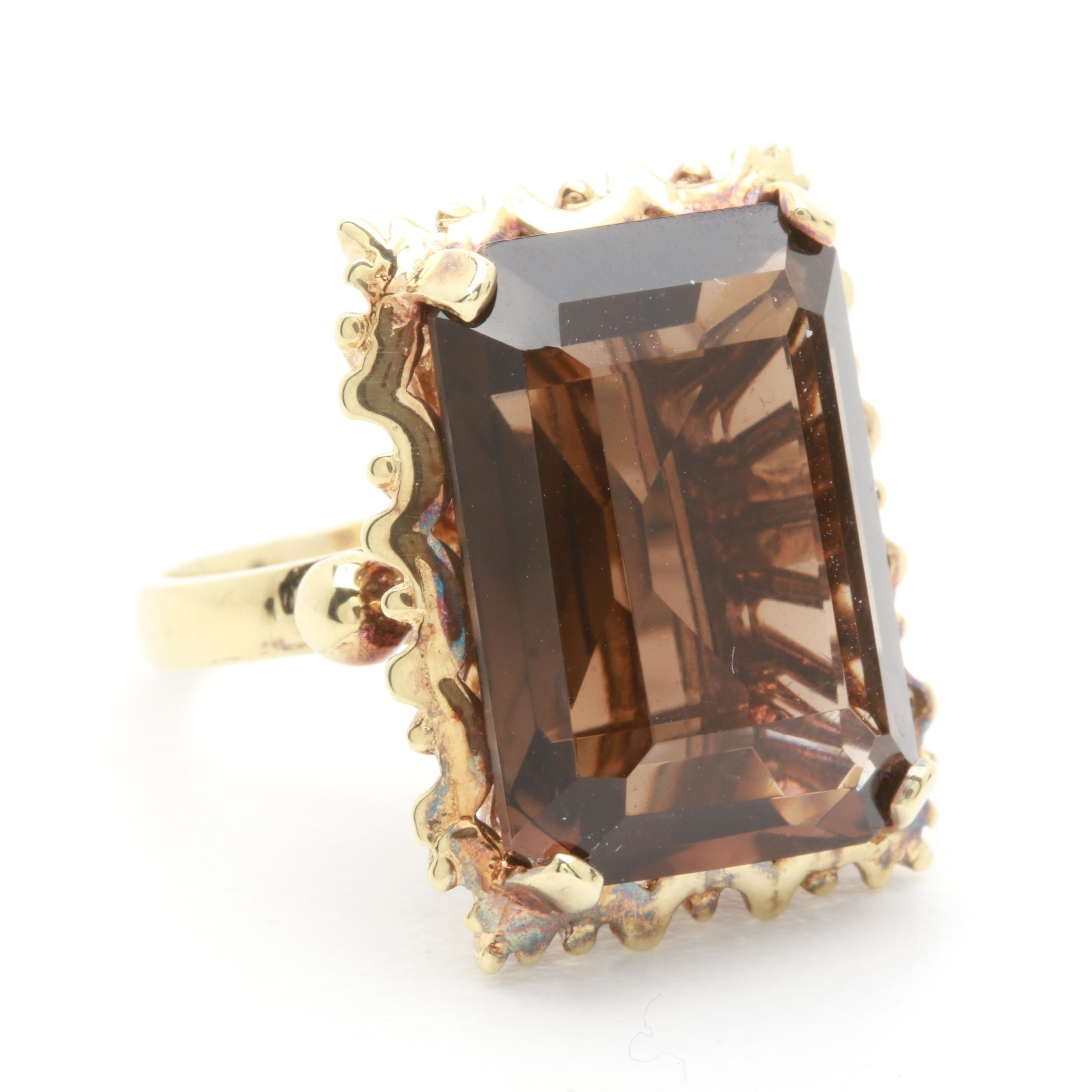 Circa 1950s 14K Yellow Gold 11.36 CT Smoky Quartz Ring
