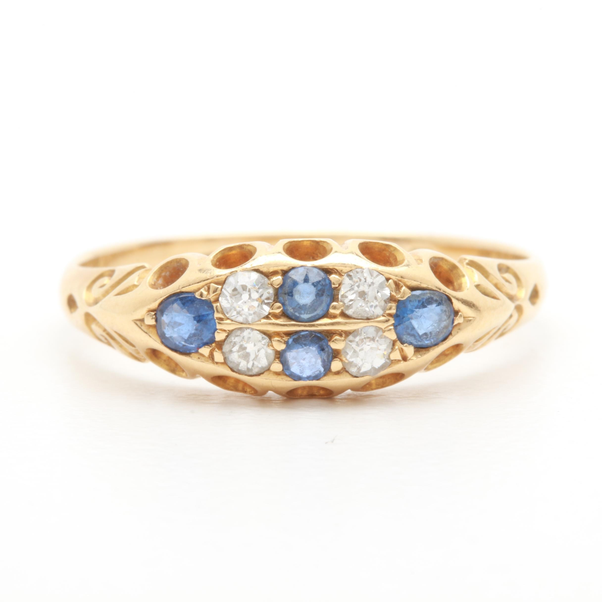 Antique 1905 18K Yellow Gold Blue Sapphire and Diamond Ring