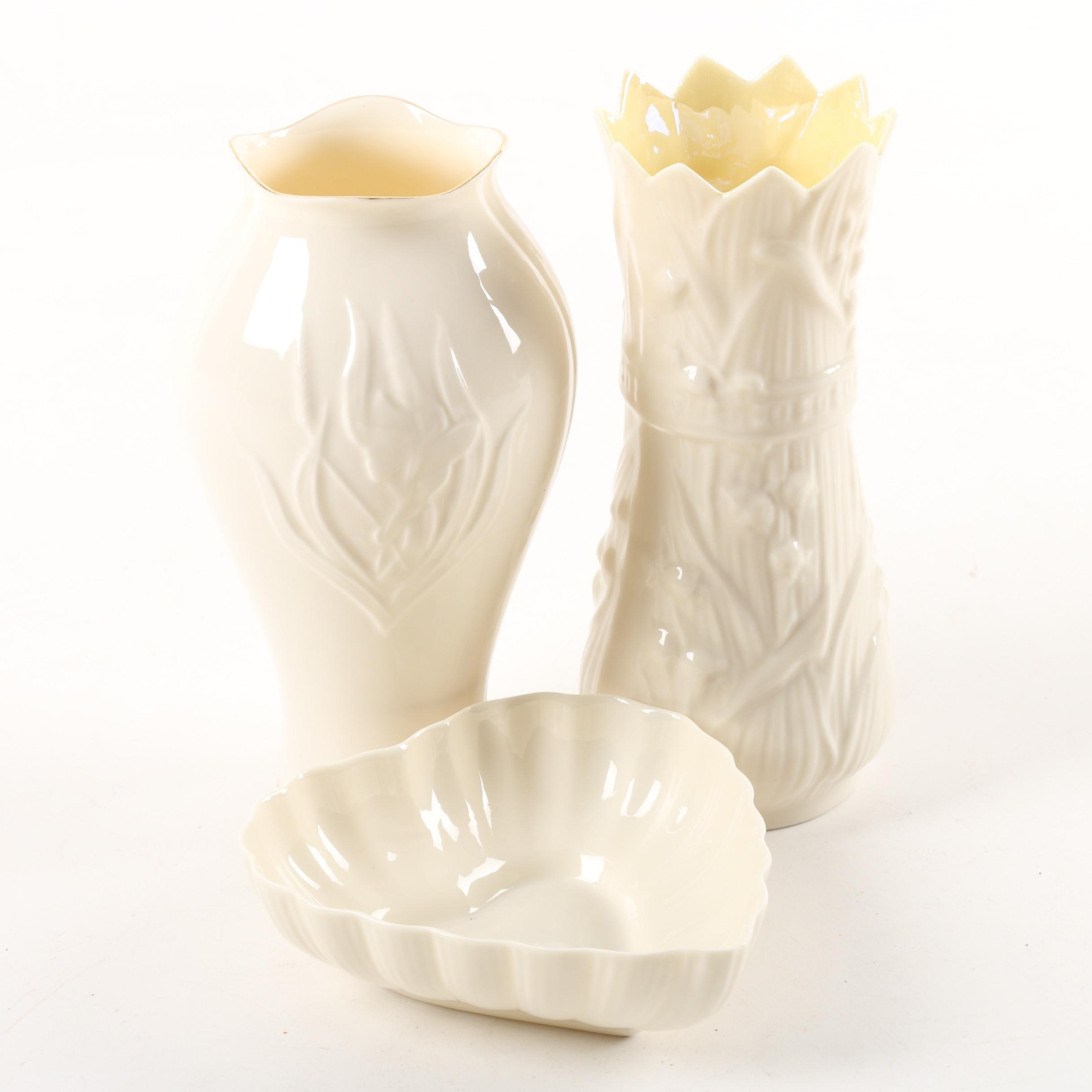 "Belleek ""Lily of the Valley"" Porcelain Vase with Heart Shaped Dish"