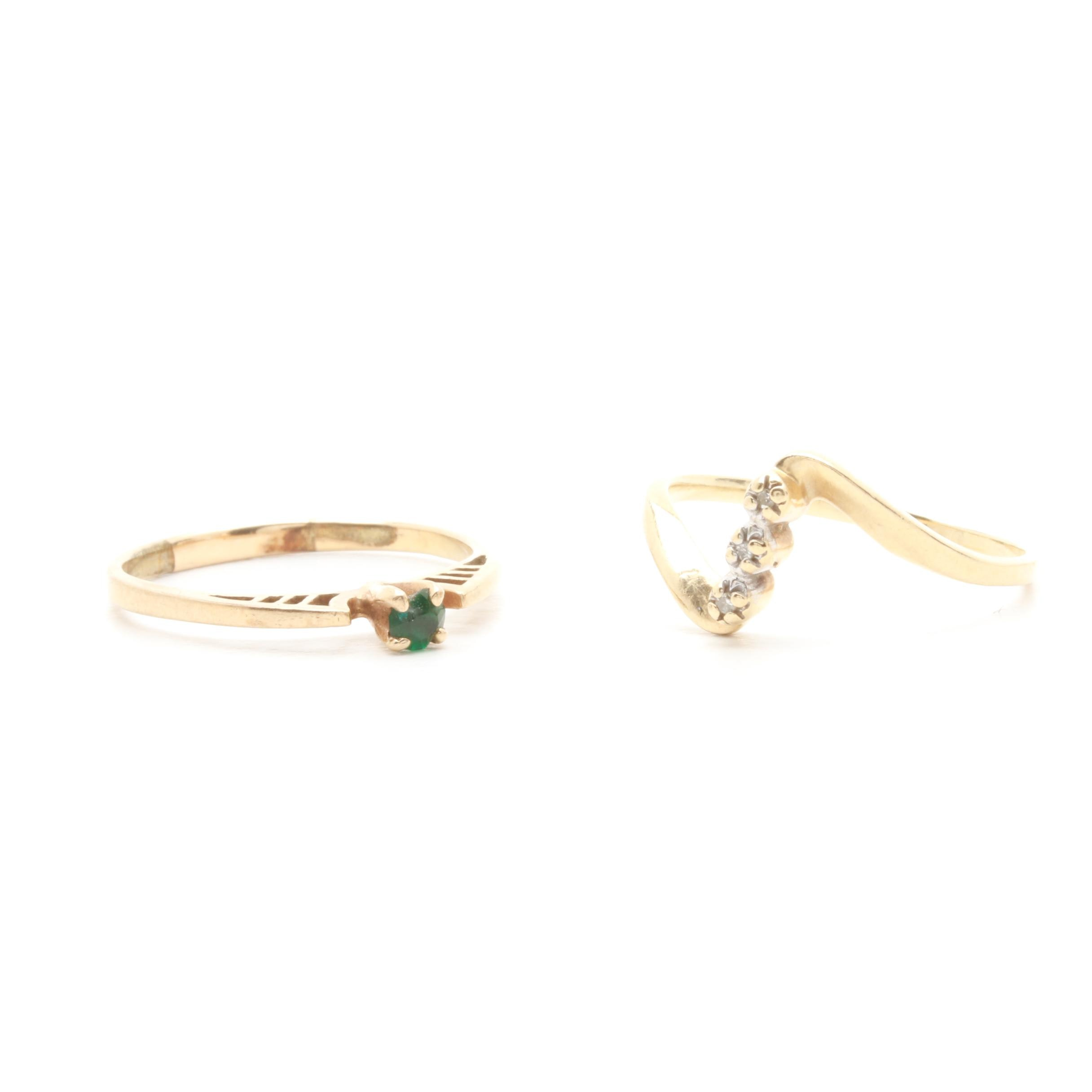 10K Yellow Gold Green Glass and Diamond Rings