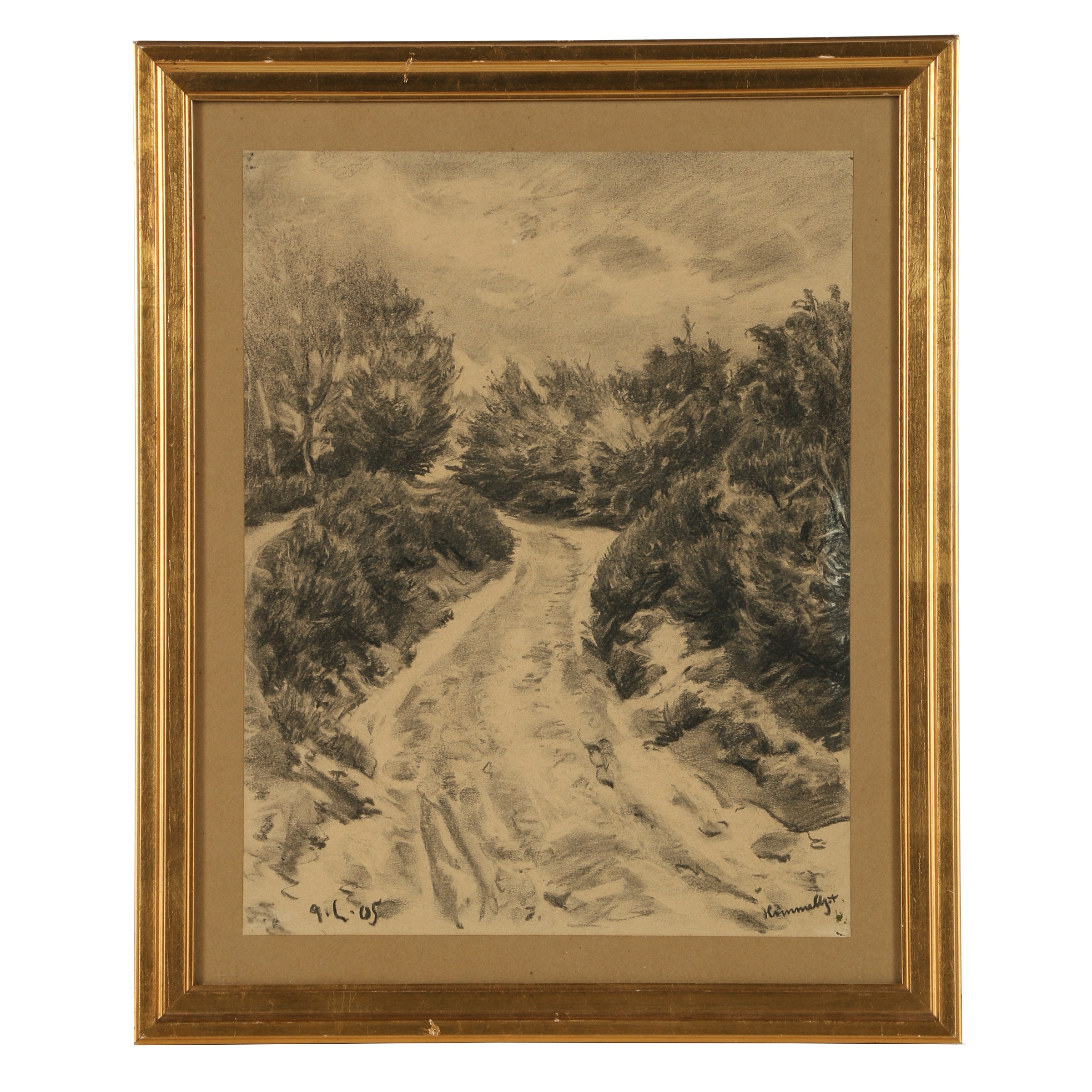 Early 20th Century Charcoal Drawing