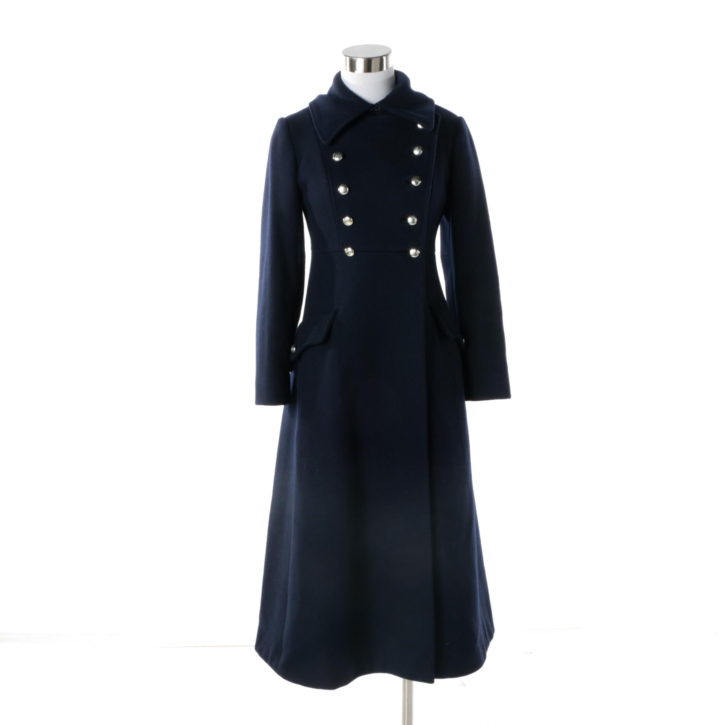 Women's Vintage Blue Wool Double-Breasted Princess Coat