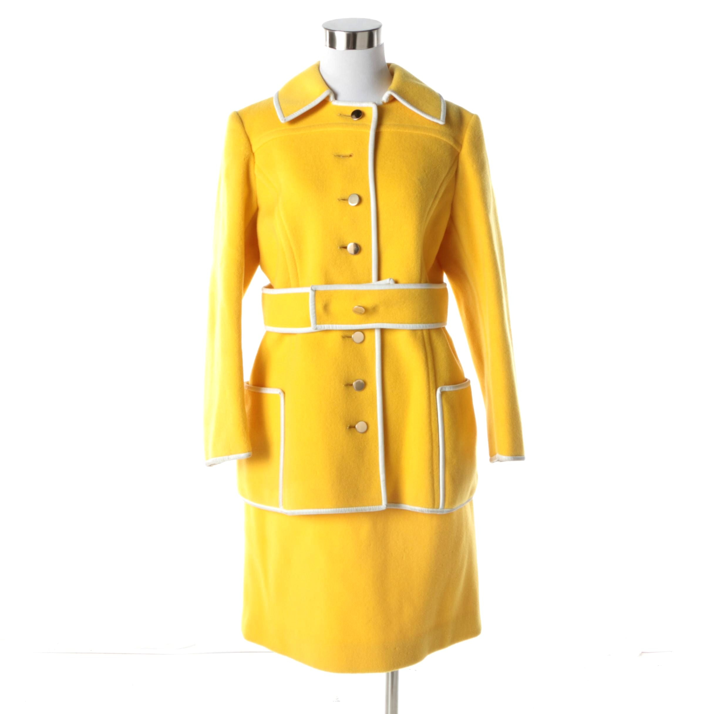 Women's Vintage Yellow Wool Blend Skirt Suit with White Leather Trim