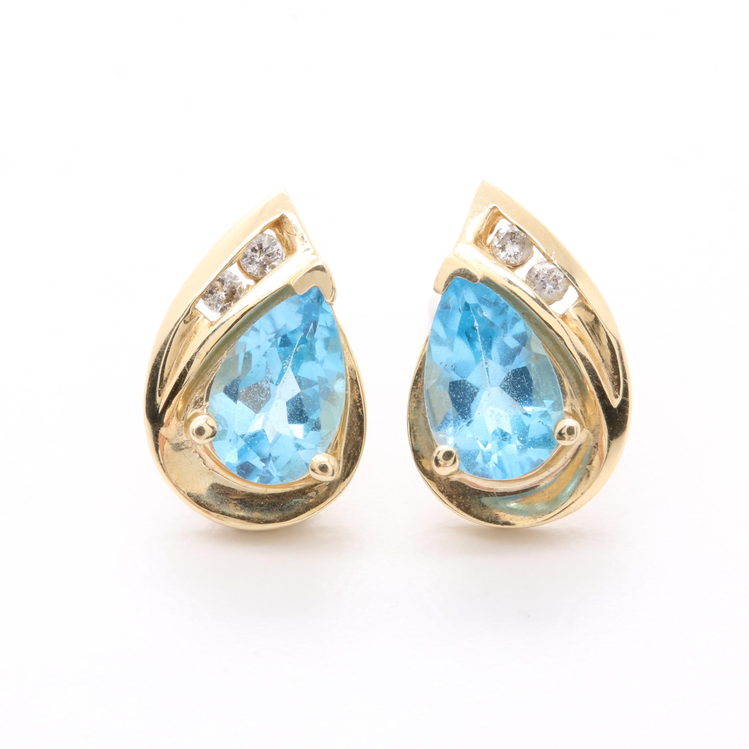 10K Yellow Gold Blue Topaz and Diamond Earrings