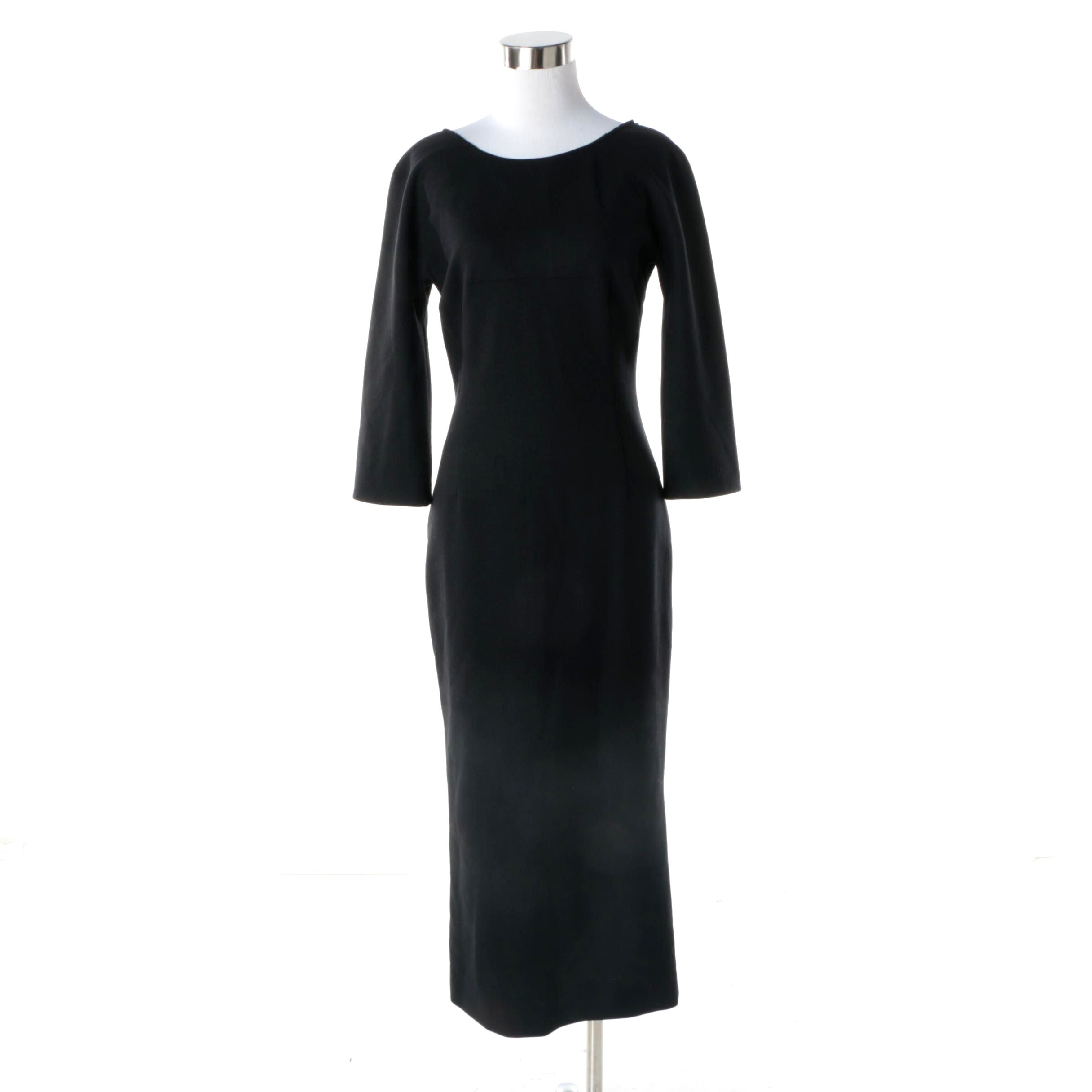 Dolce & Gabbana Black Wool Blend Cocktail Dress