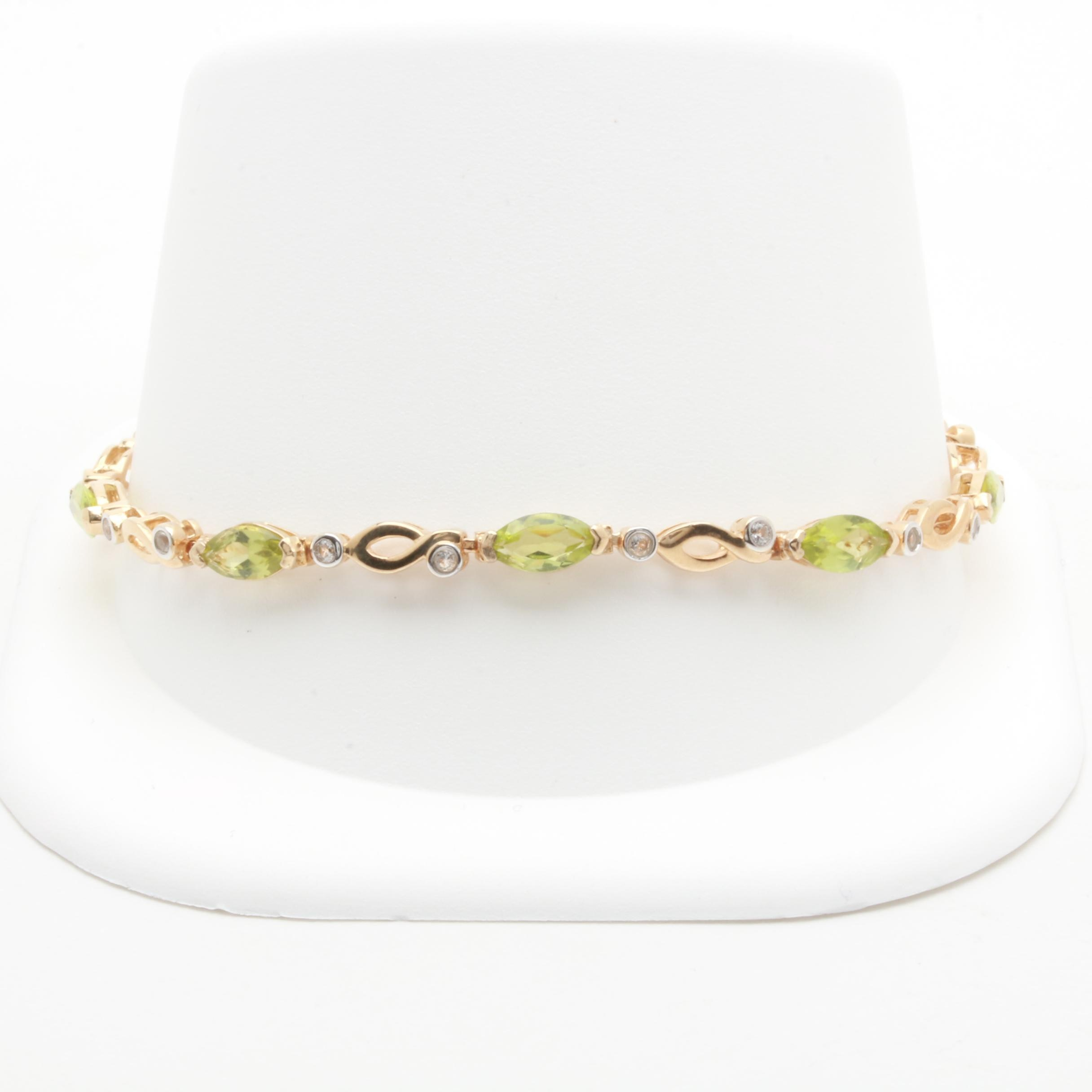 Gold Wash on Sterling Silver Peridot and White Topaz Bracelet