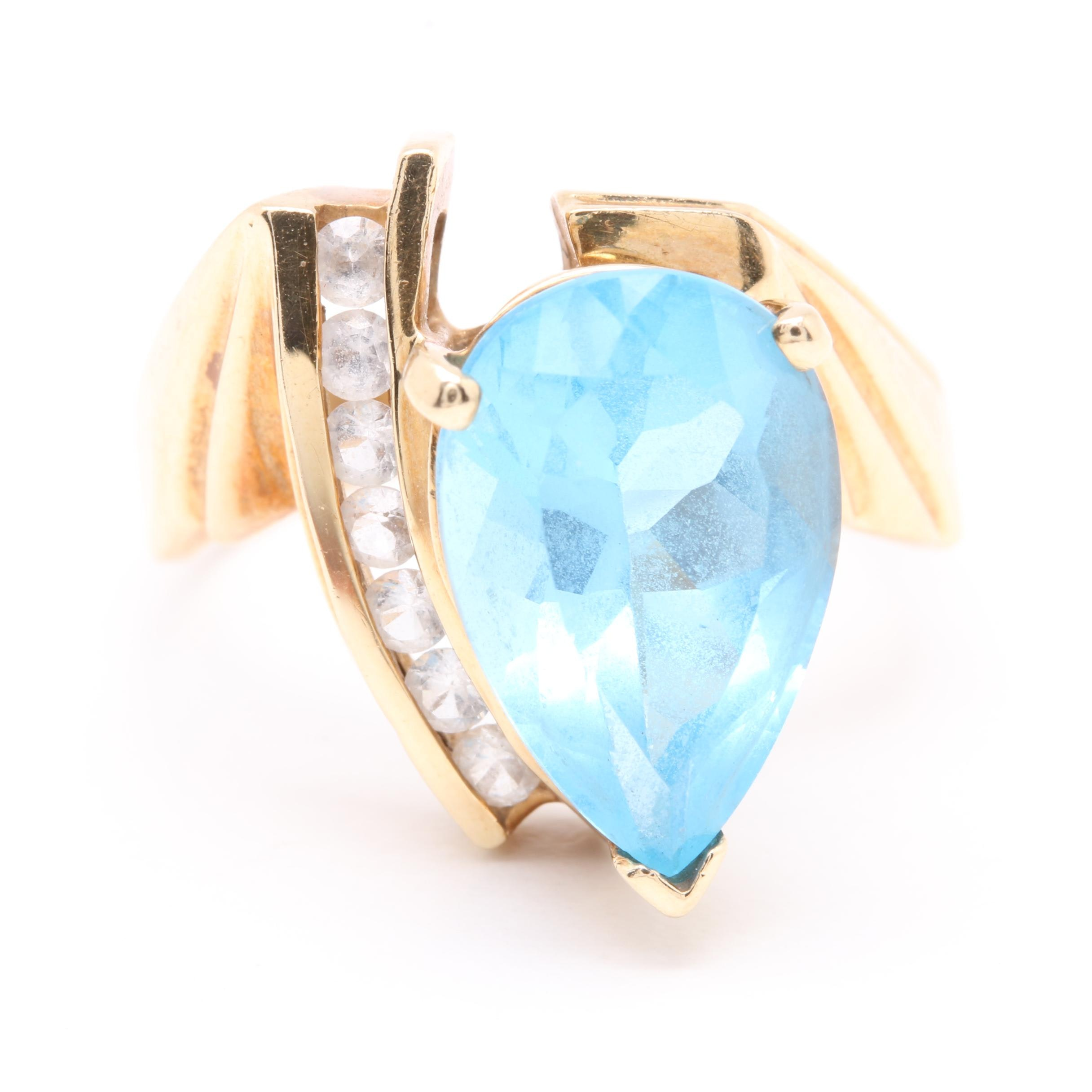 10K Yellow Gold Blue Topaz and White Sapphire Ring