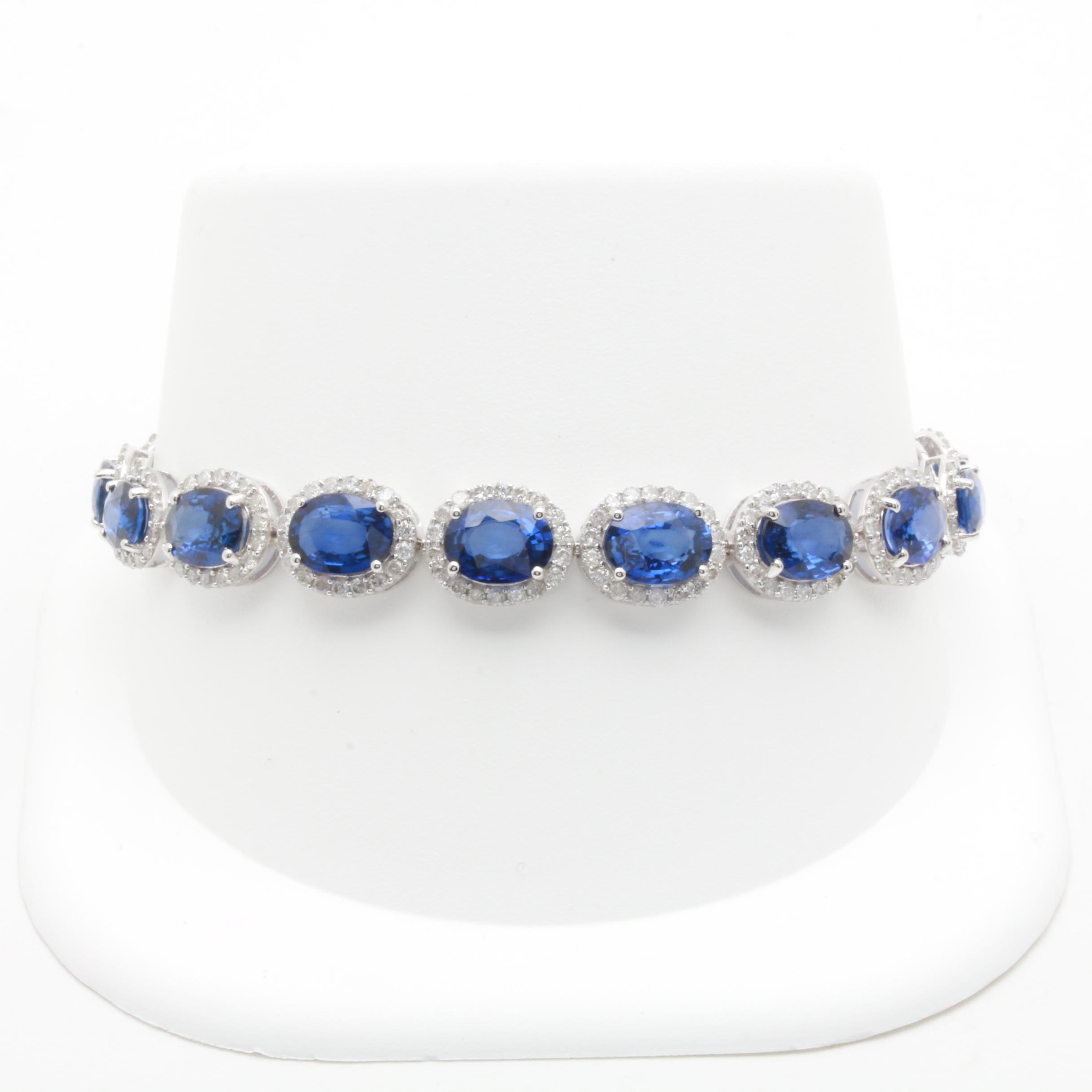 14K White Gold Sapphire and 2.93 CTW Diamond Link Bracelet