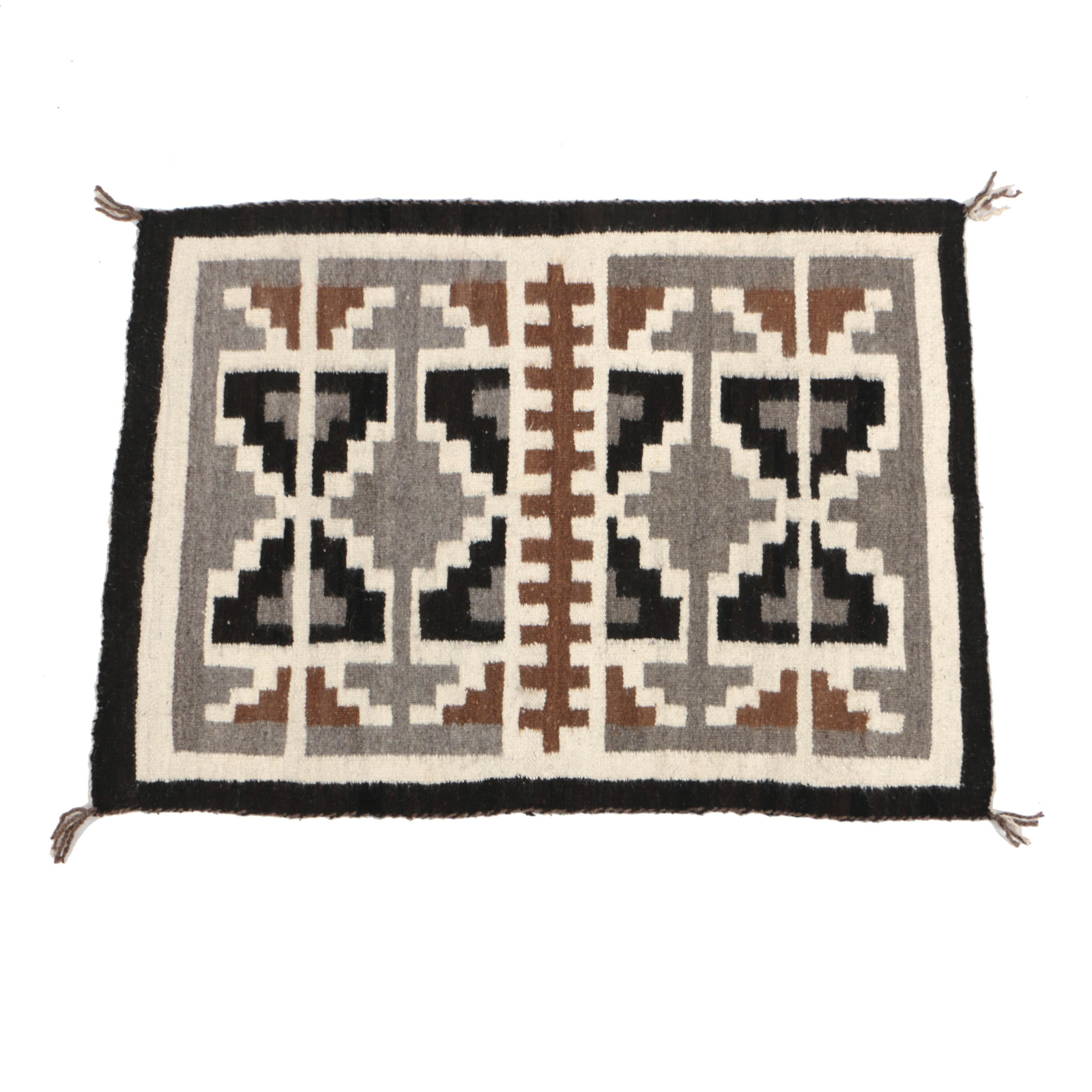 20th Century Handwoven Mexican Wool Accent Rug