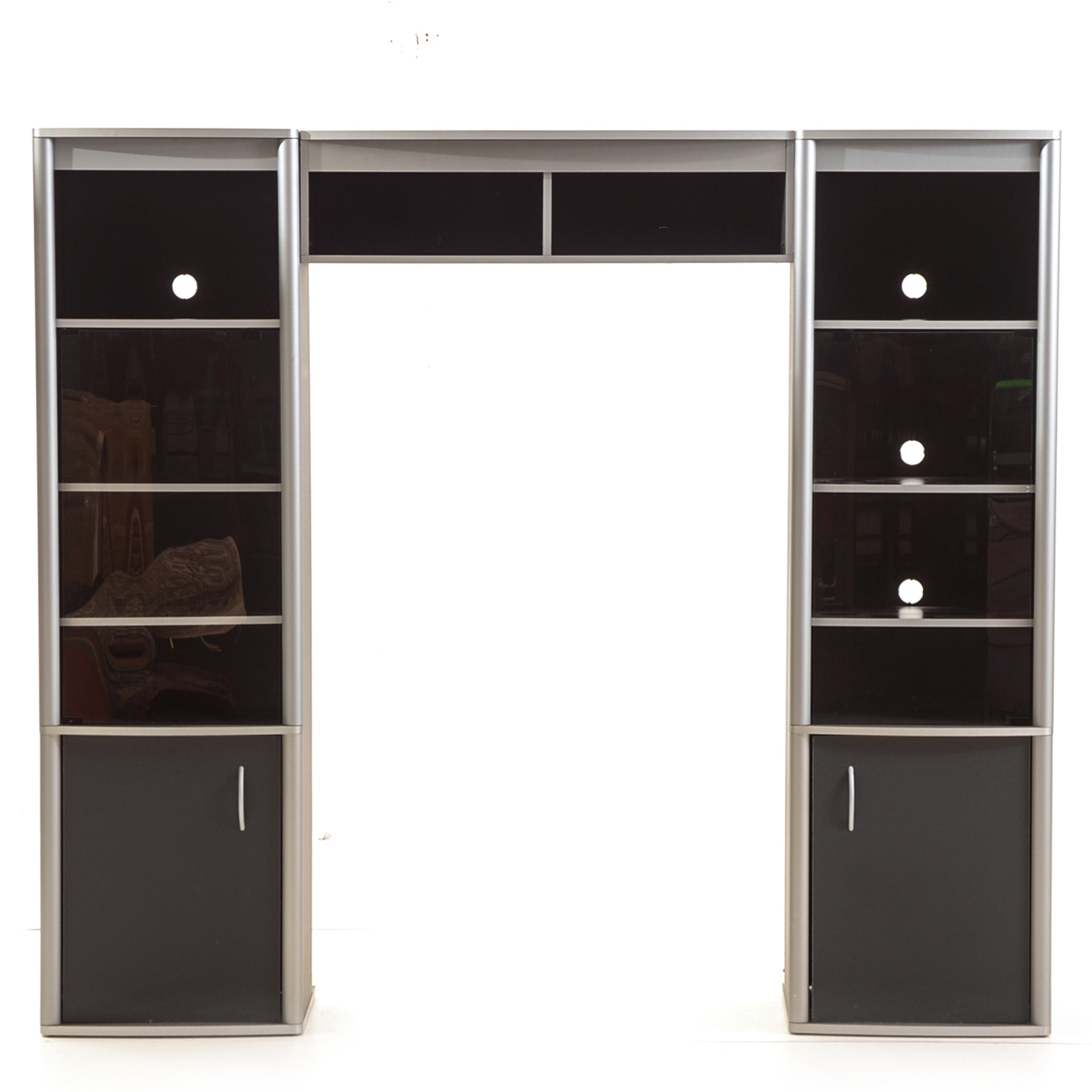 Black and Gray Laminate Media Cabinet with Tinted Glass
