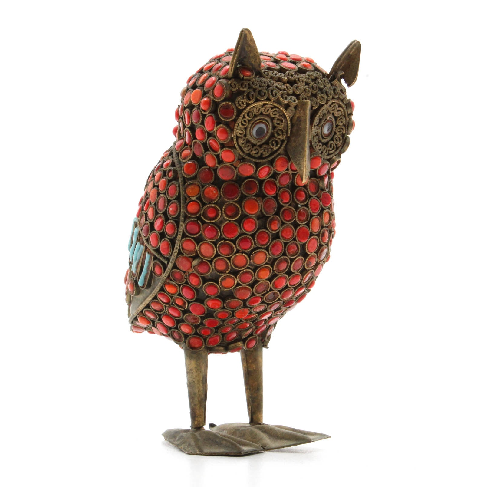 Tibetan Coral and Turquoise Owl Sculpture