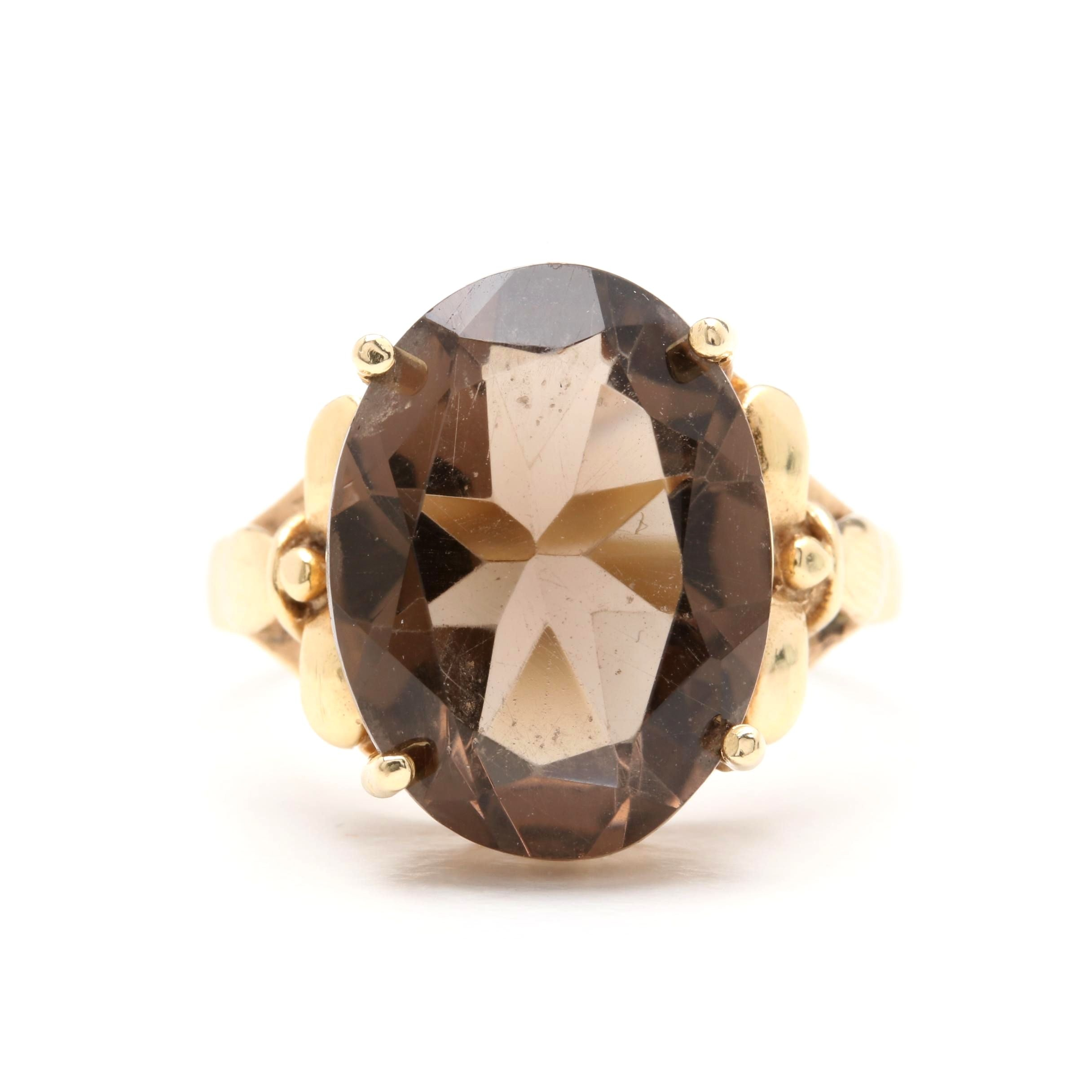 Vintage Circa 1950s 14K Yellow Gold 7.60 CT Smoky Quartz Ring