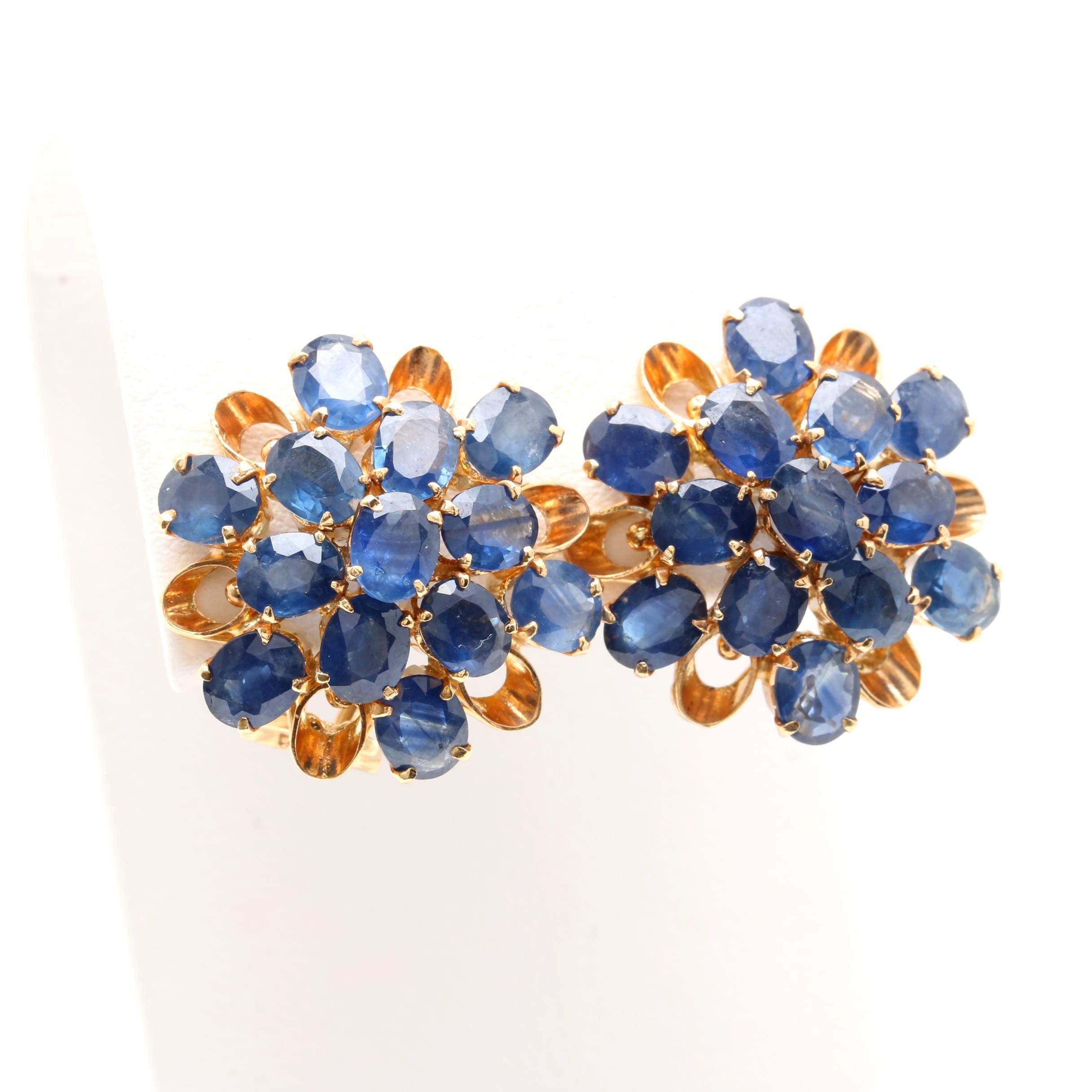 14K Yellow Gold Sapphire Earrings