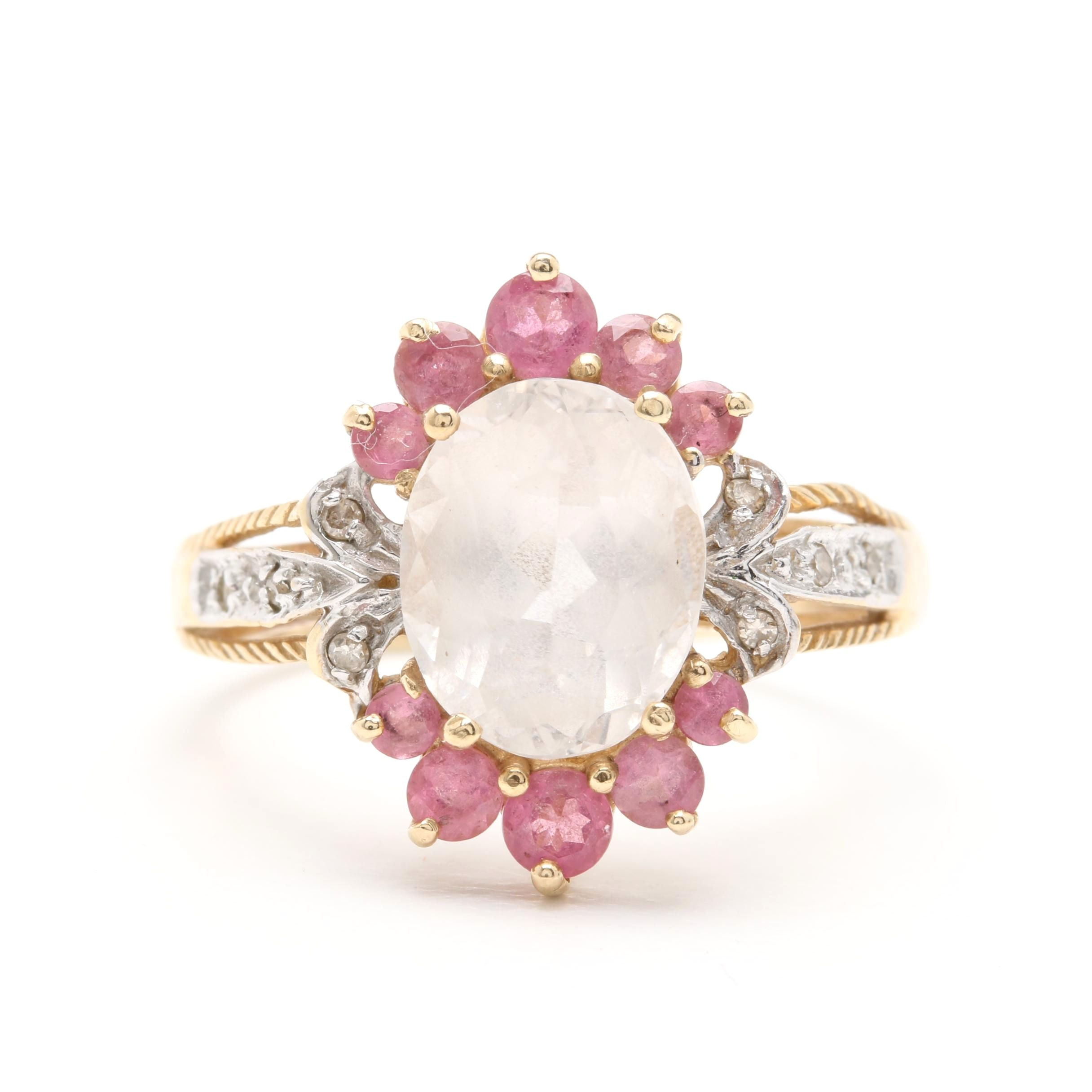 10K Yellow Gold Quartz Crystal, Pink Sapphire and Diamond Ring