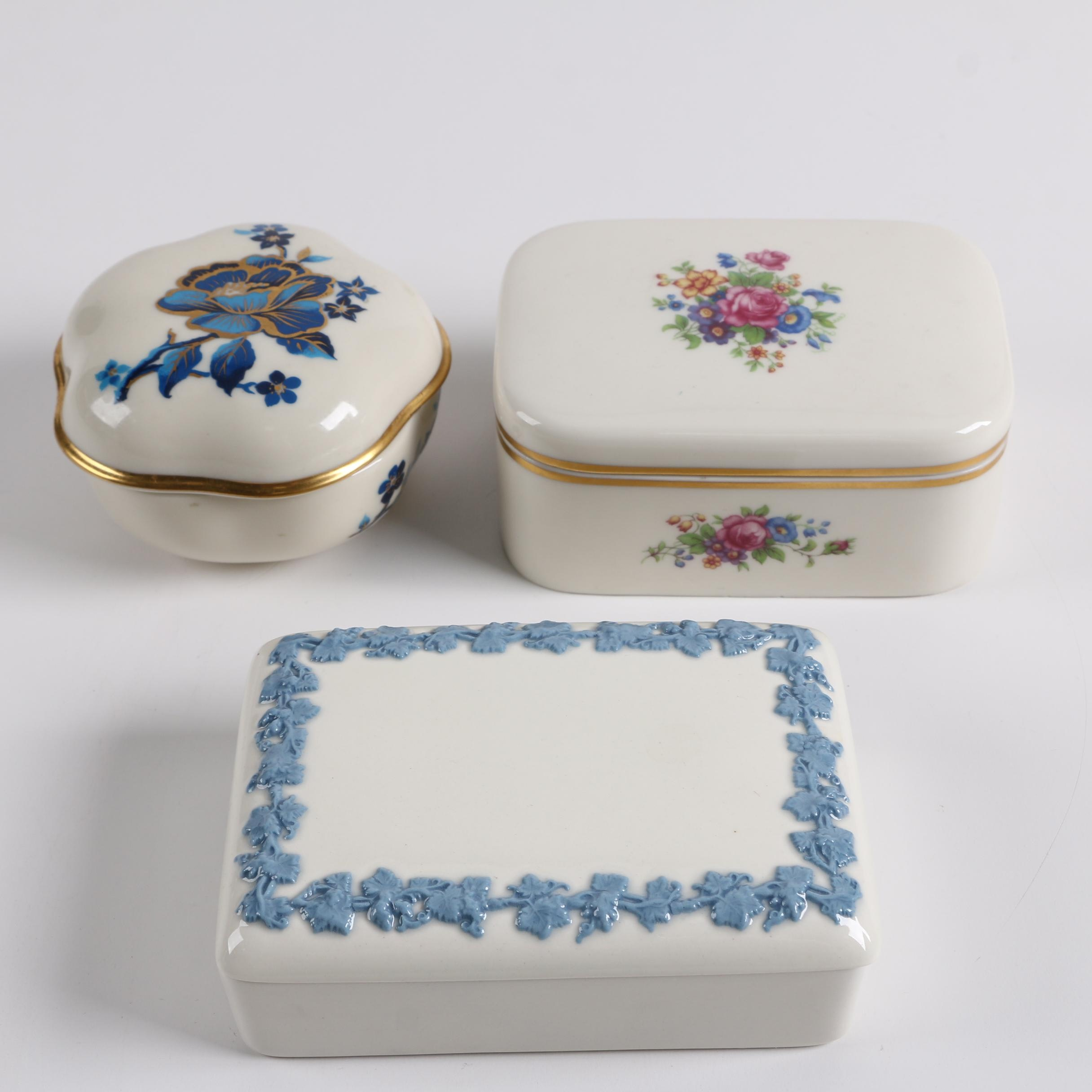 "Wedgwood Queen's Ware and Lenox ""Pagoda"" Porcelain Trinket Boxes"