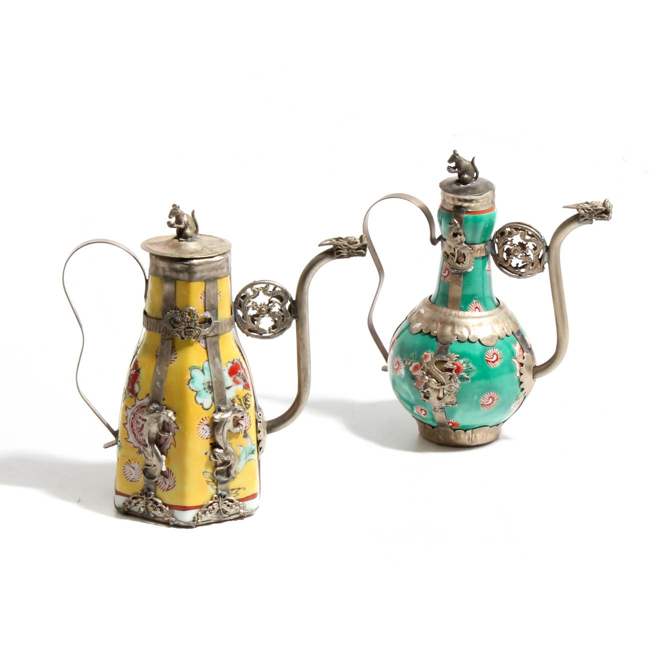 Tibetan Tea Pots in Porcelain and Silver Plated Metal