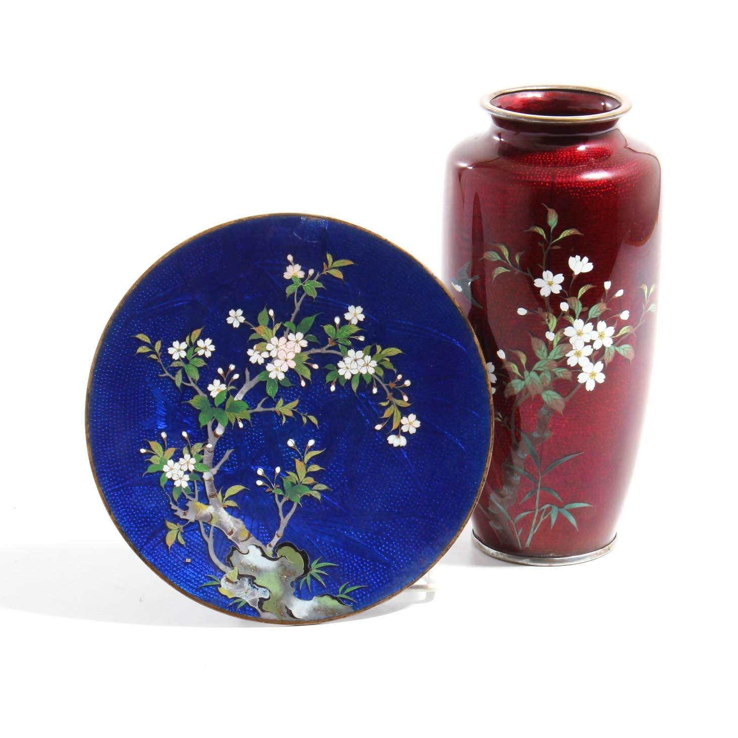 Japanese Ginbari Cloisonne Pairing