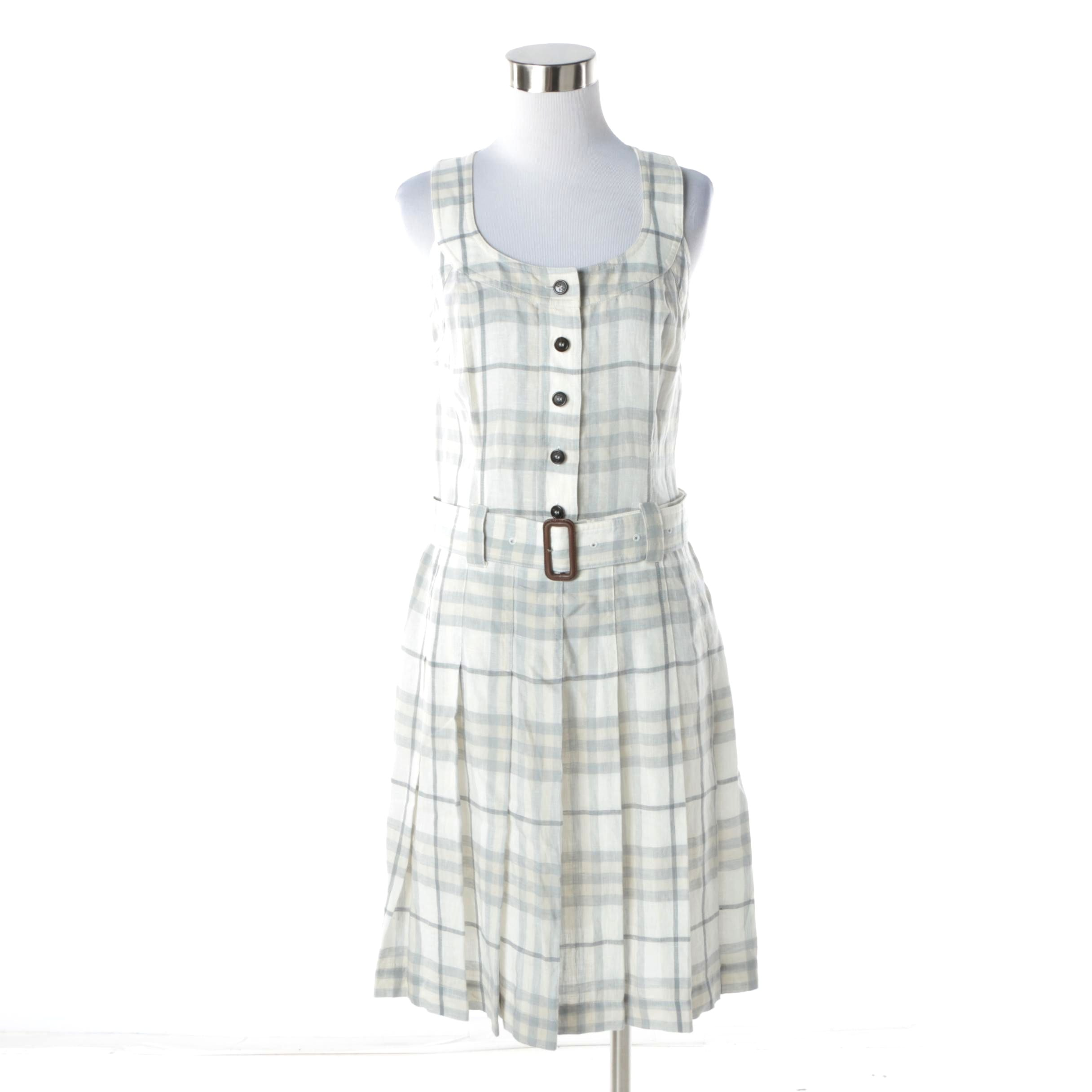 Women's Burberry London Plaid Linen Sleeveless Dress