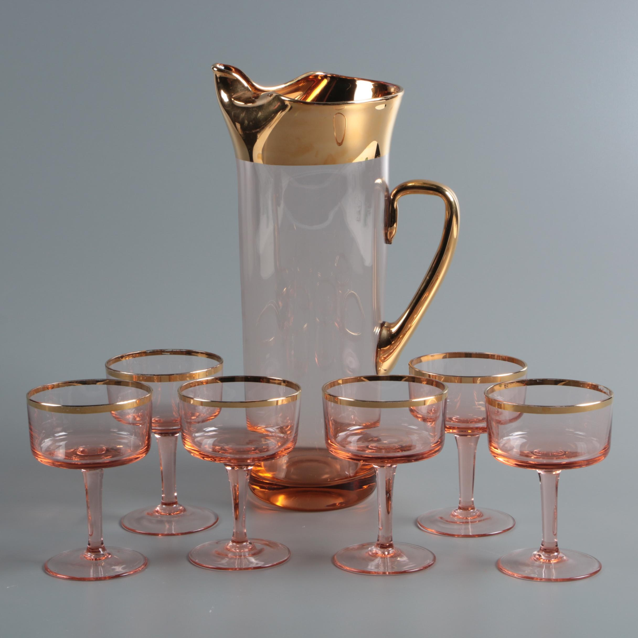 Mid Century Pink Glass Pitcher and Champagne Coupes with Gilded Rims