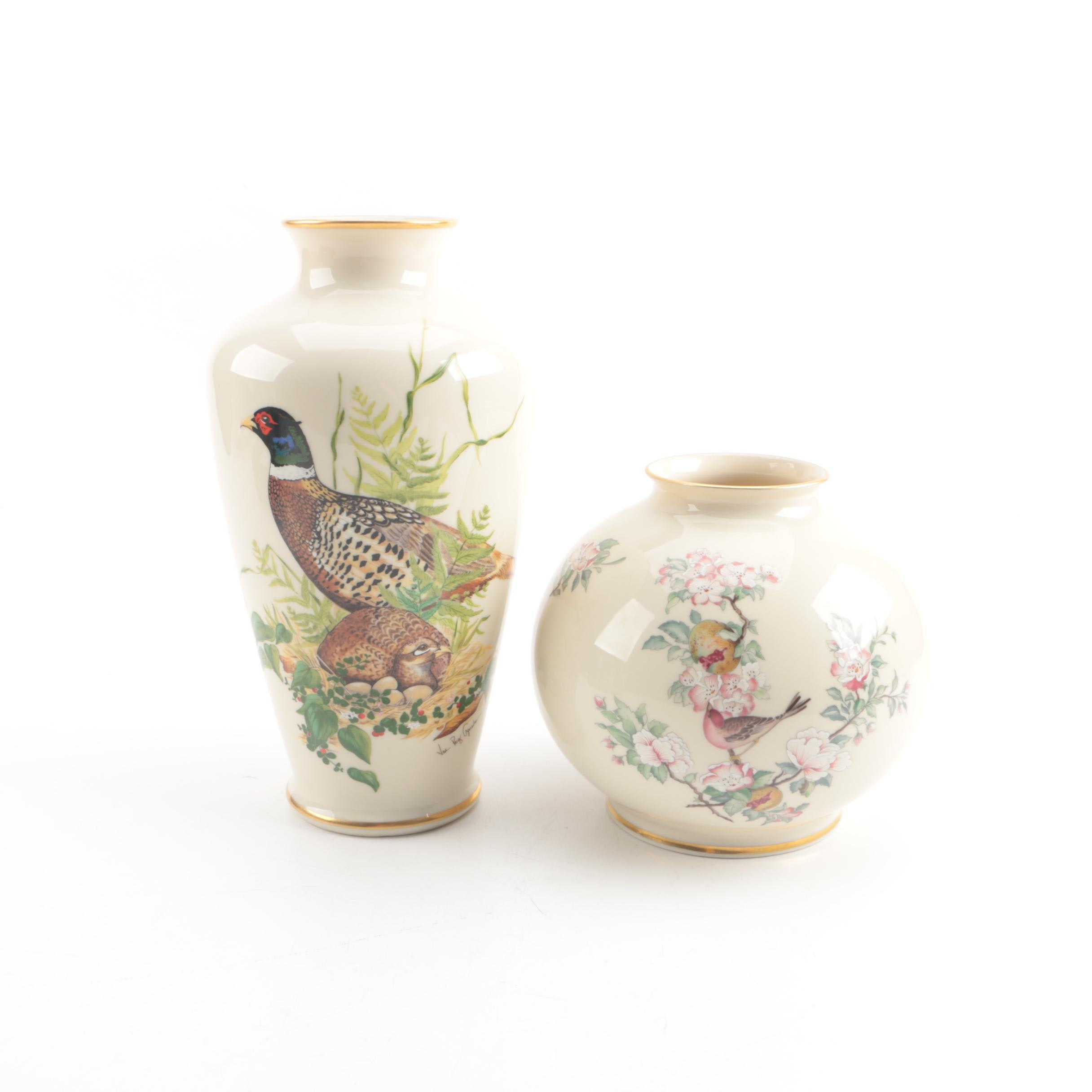"Lenox ""Serenade"" and Signed ""Ring-Necked Pheasant"" Porcelain Vases"