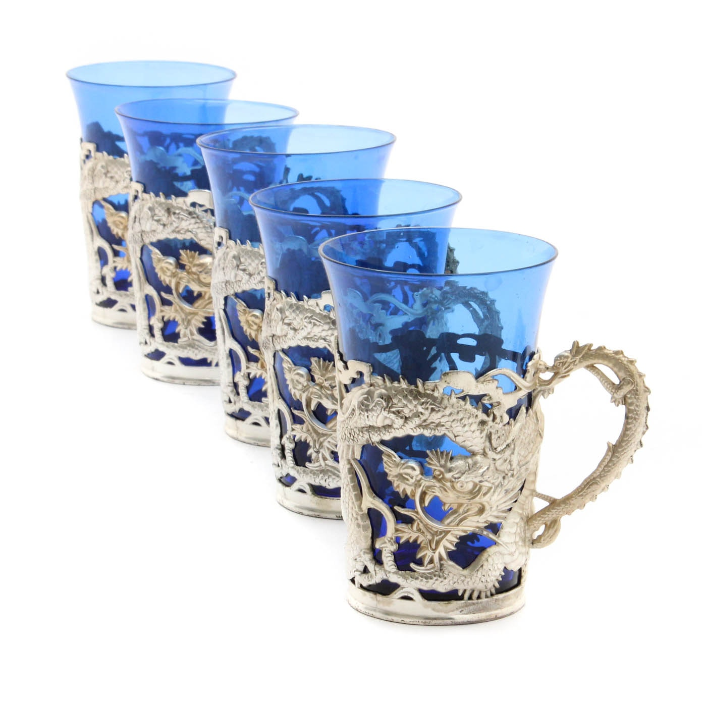 Chinese Dragon Motif Mugs with Blue Glass Liners