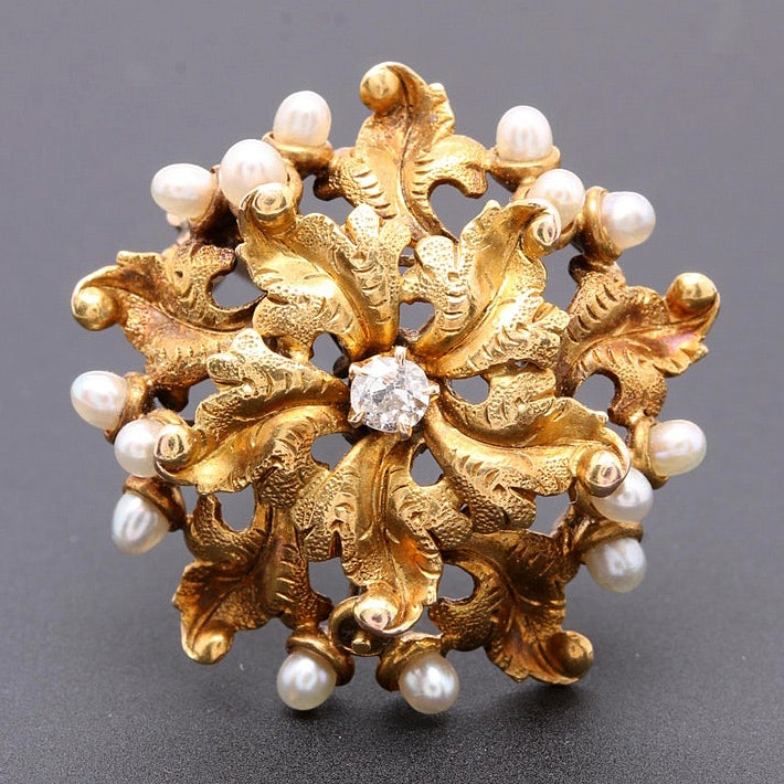 Victorian 14K Yellow Gold Diamond and Cultured Pearl Brooch
