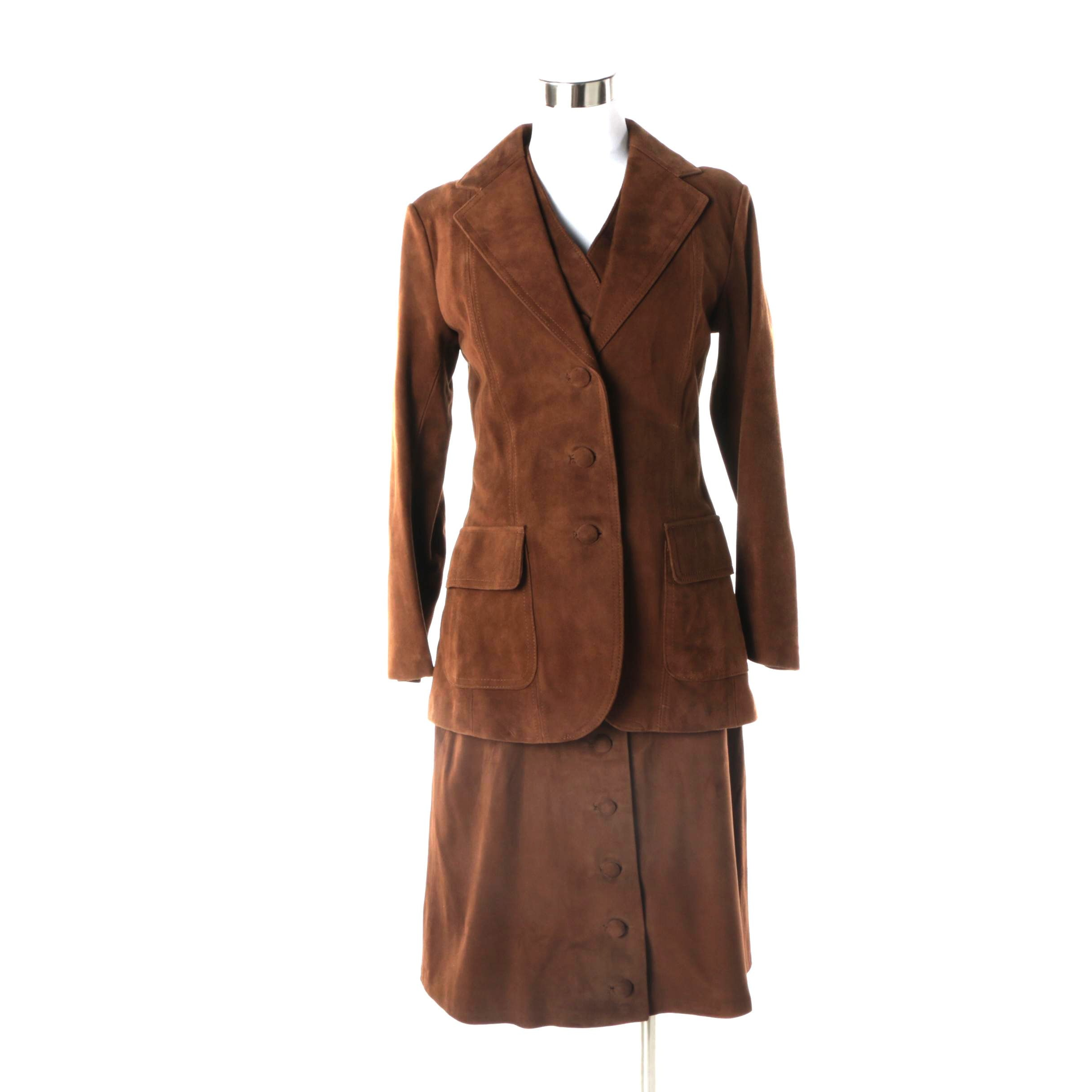 Women's Vintage Brown Suede Three-Piece Skirt Suit