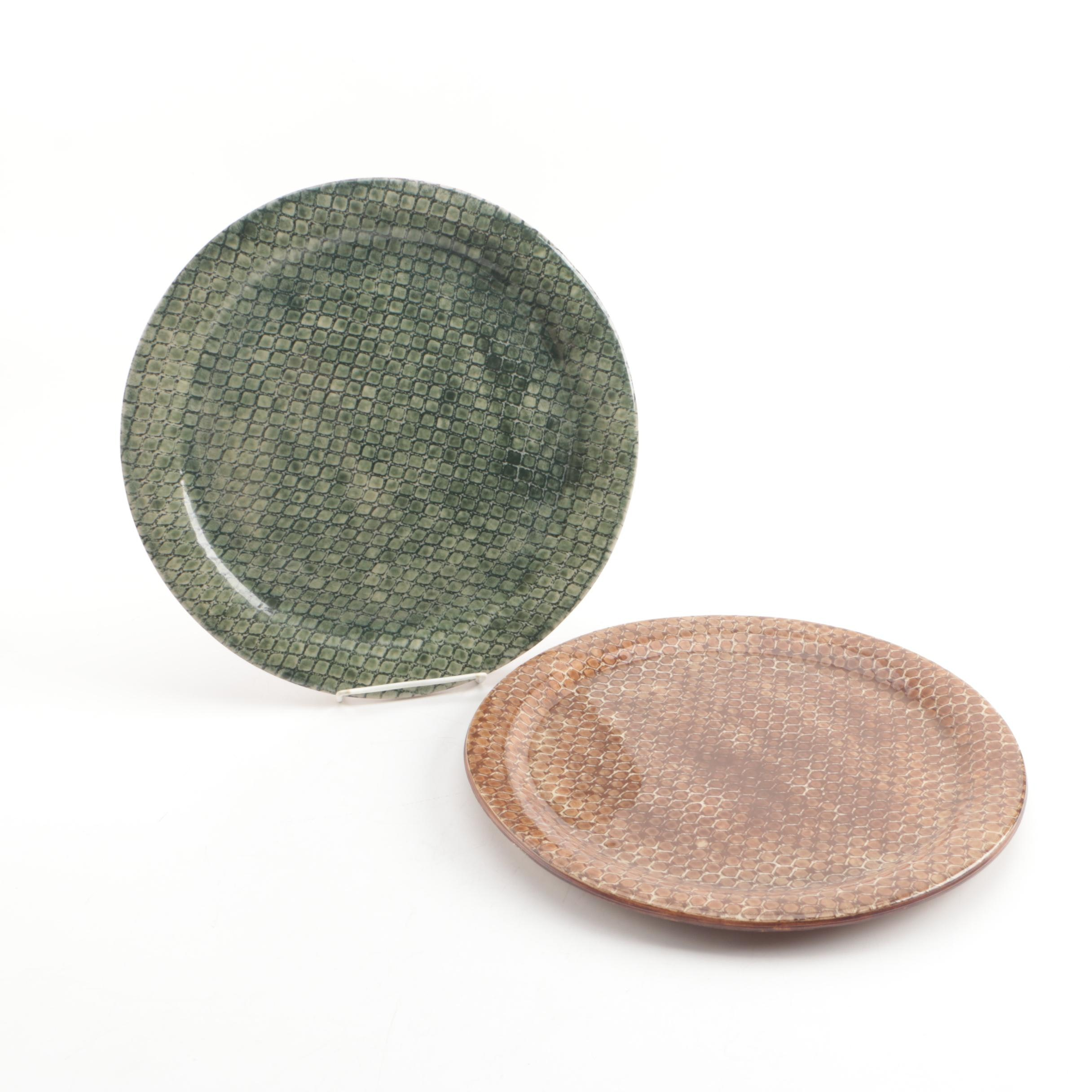 Ellen Evans Wheel Thrown Honeycomb Stoneware Plates in Green and Brown
