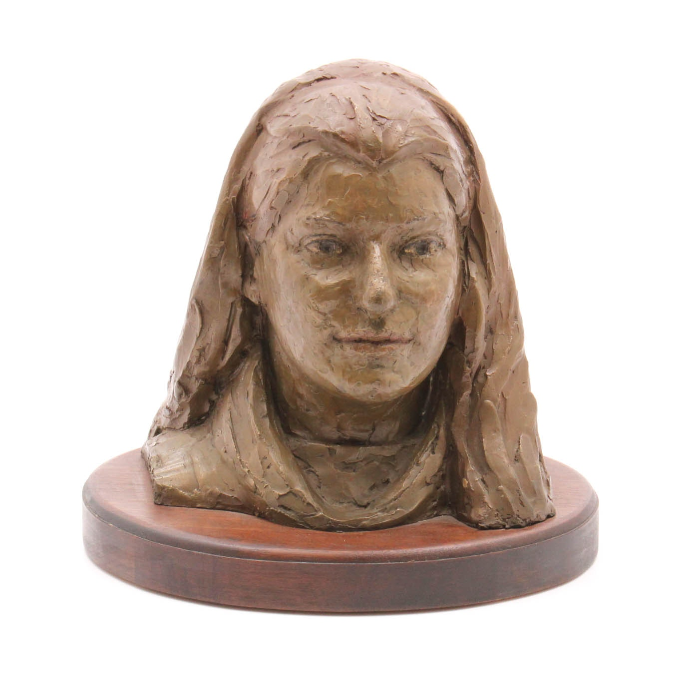 Signed Female Bronze Bust