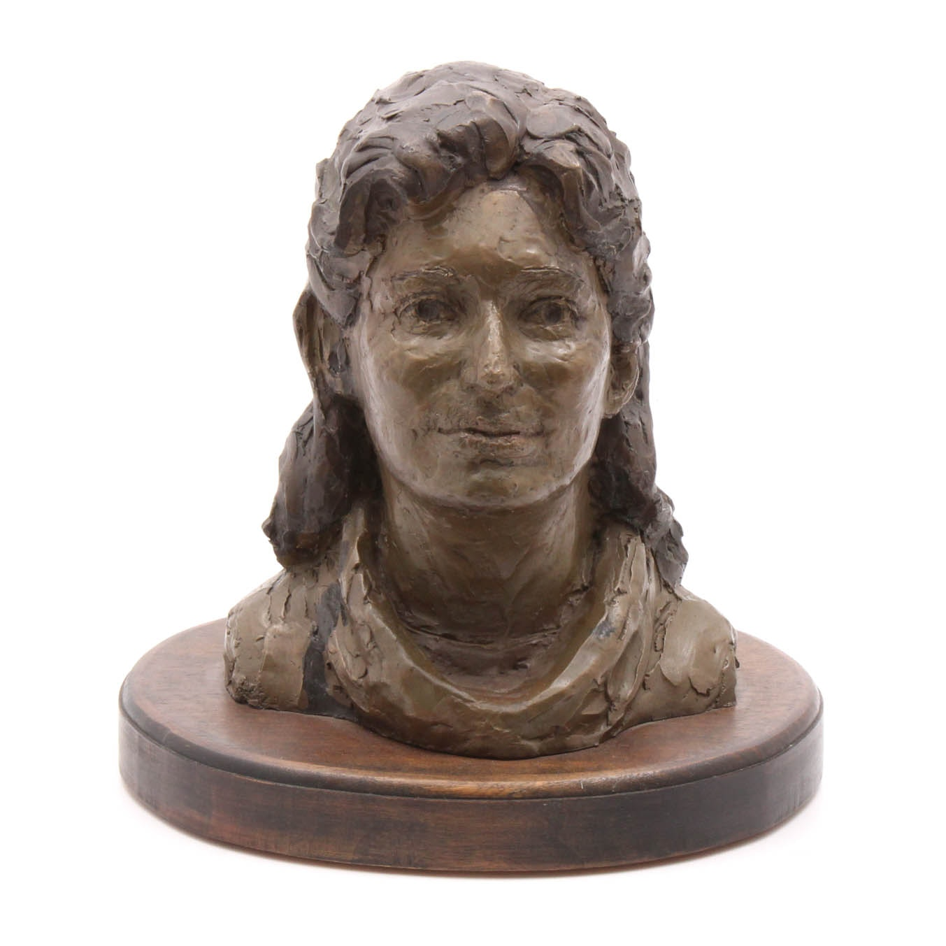 Signed Female Bronze Bust with Dark Hair