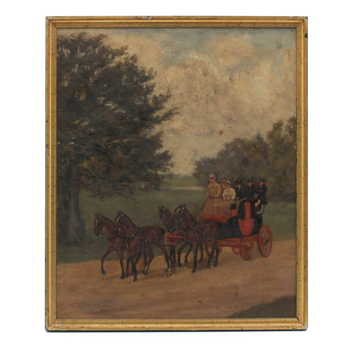 Antique European Two-Sided Painting