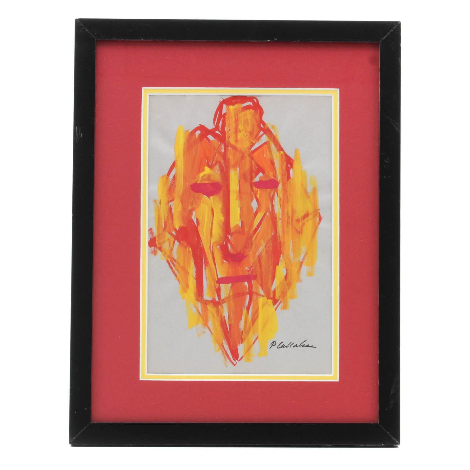 Phillip Callahan Gouache Abstract Portrait